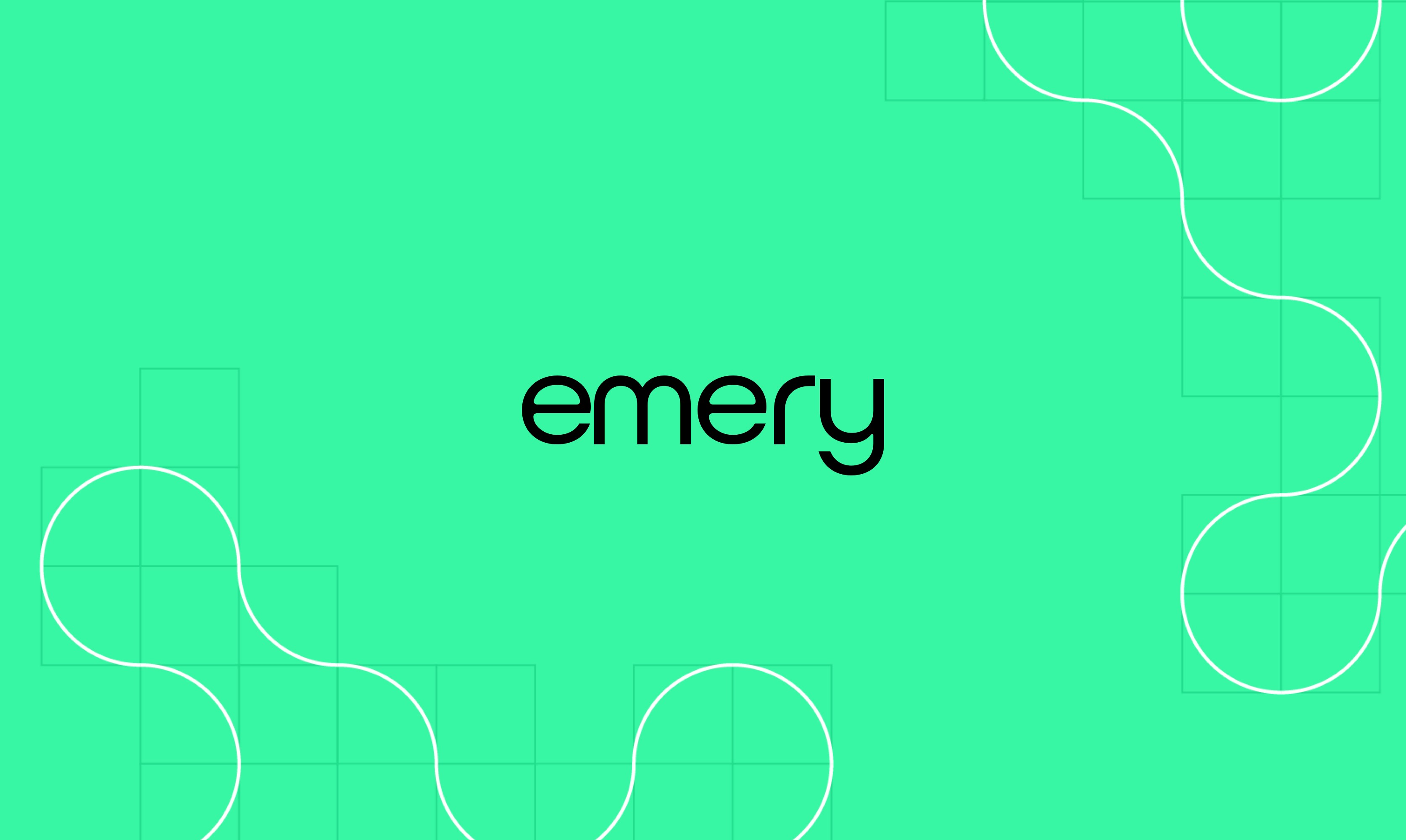 Emery logo on green color field.