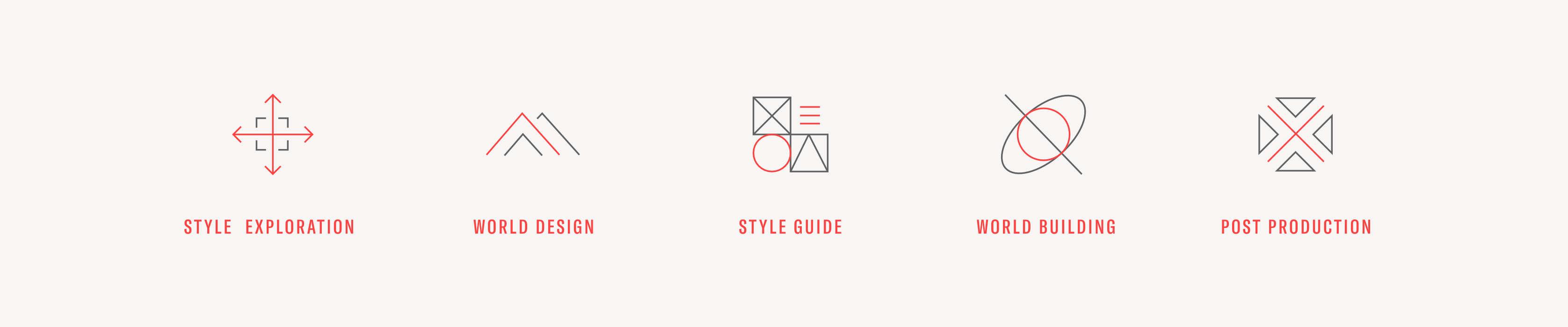 Icon designs that outline West Studio's creative process.