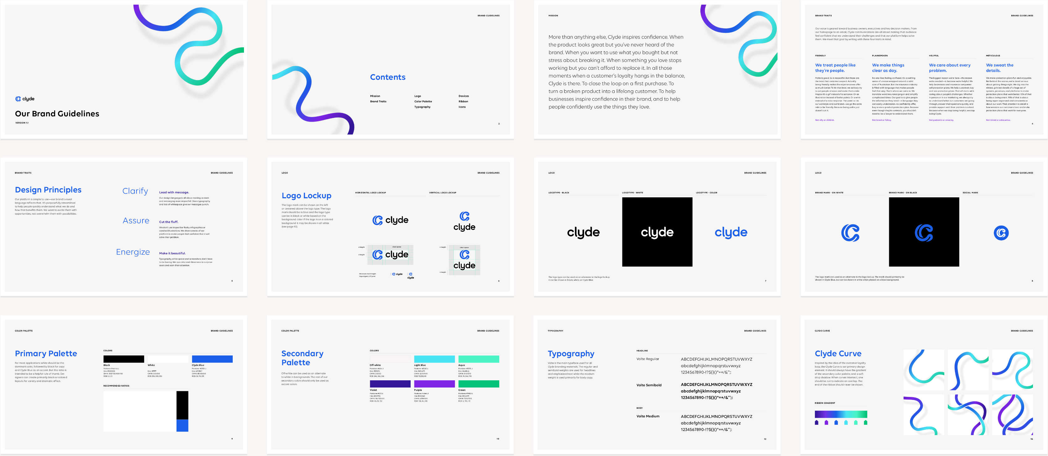 Spread showing pages from Clyde brand guidelines document.