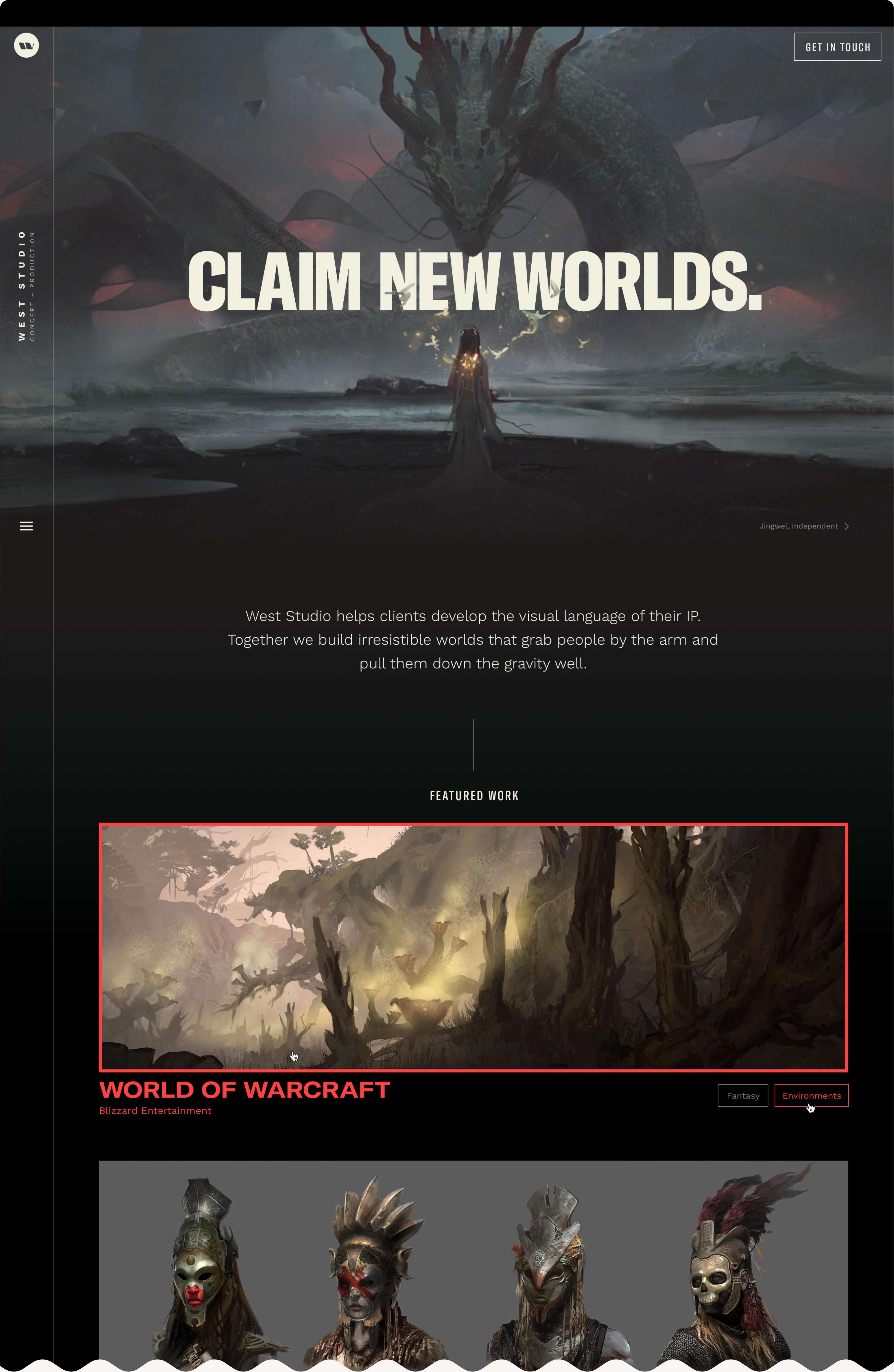 Screen of West Studio .com homepage.