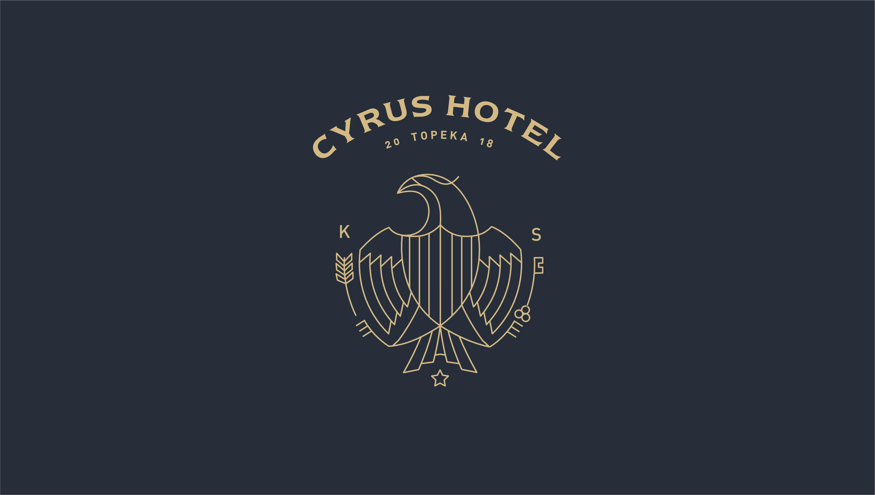Cyrus Hotel logo on dark blue color field.
