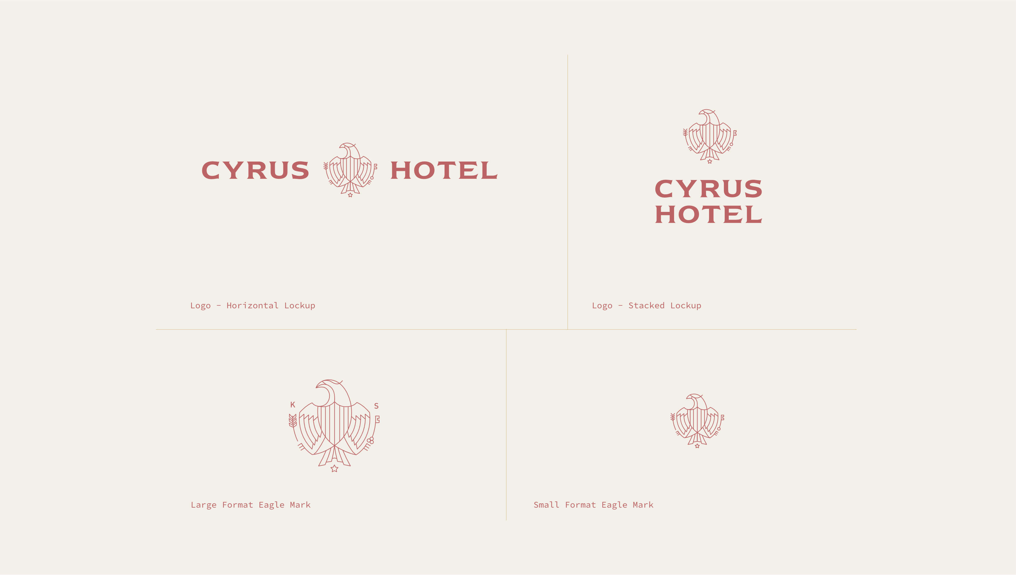Spread of Cyrus Hotel logo in a range of orientations.