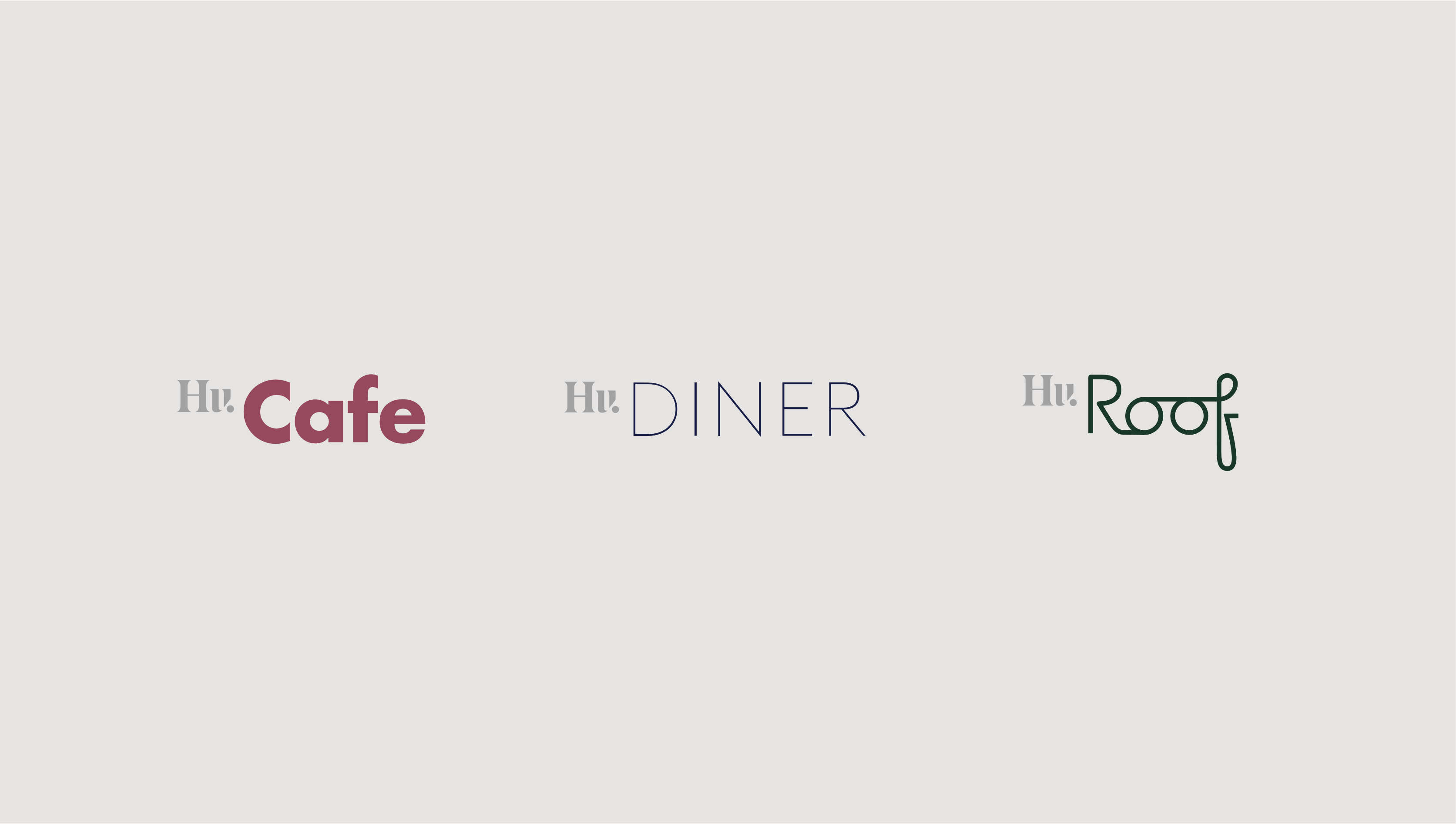 Logos for Hu. Cafe, Hu. Diner, and Hu. Roof on grey color field.