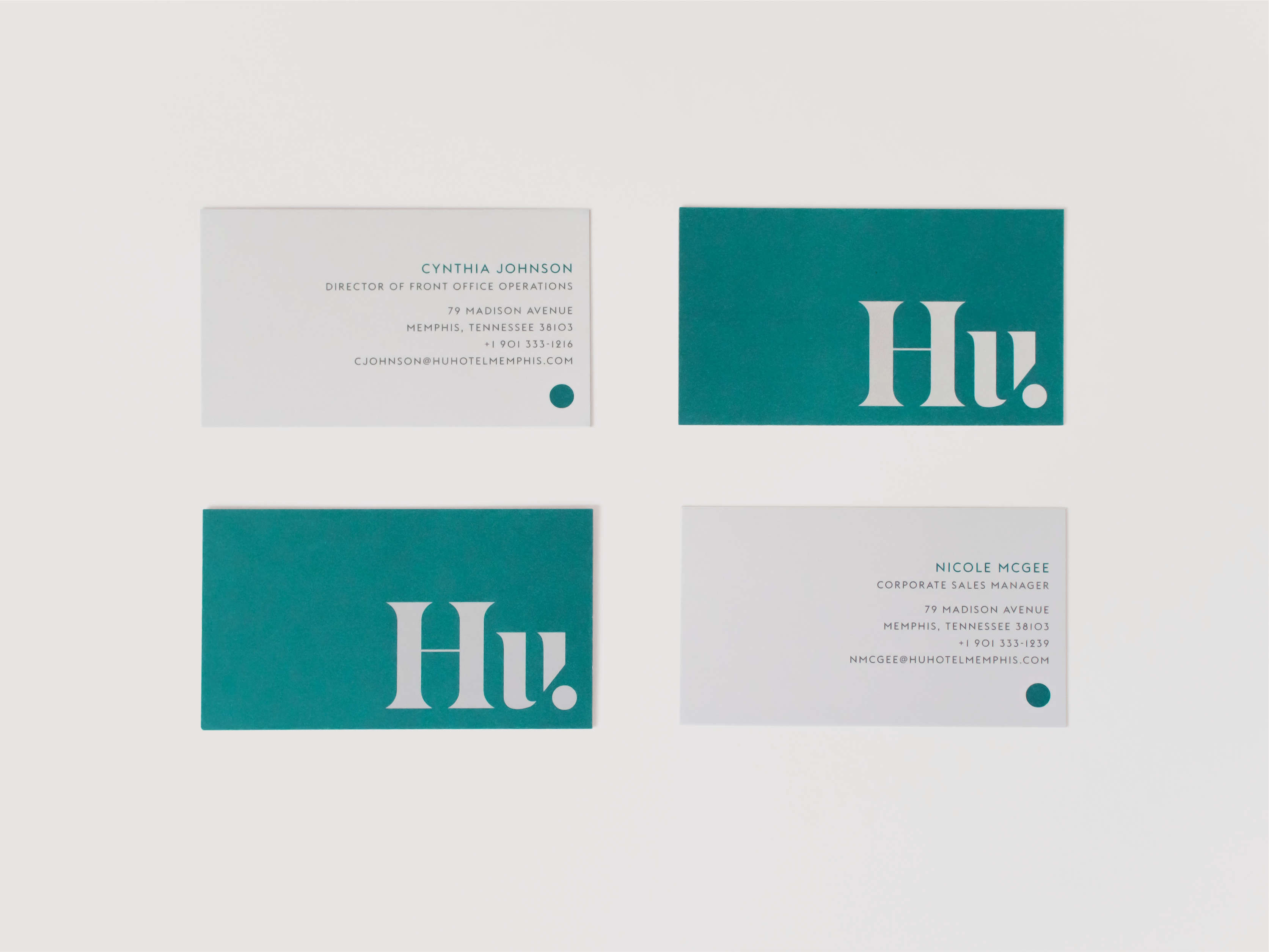 Spread of Hu. Hotel business cards.