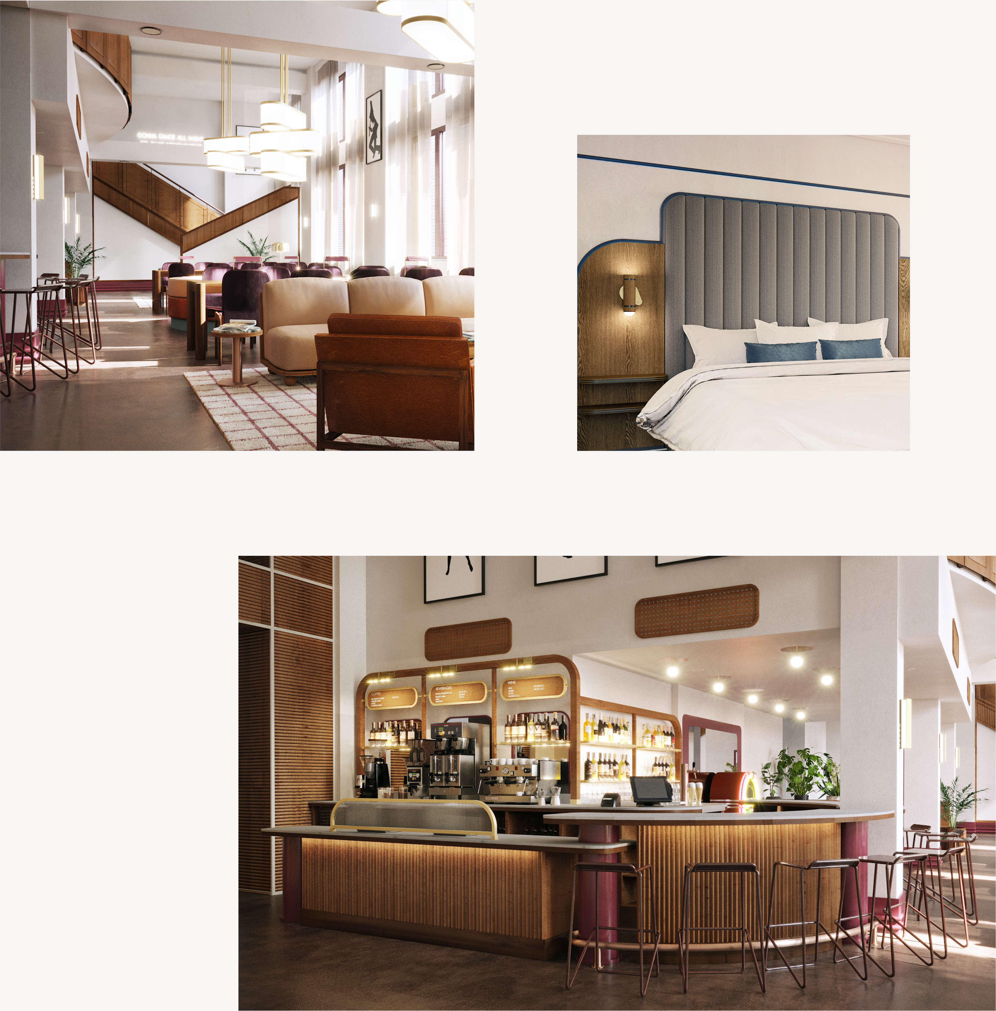 Spread of Hu. Hotel interior design moments, including lobby, guest room, and bar.