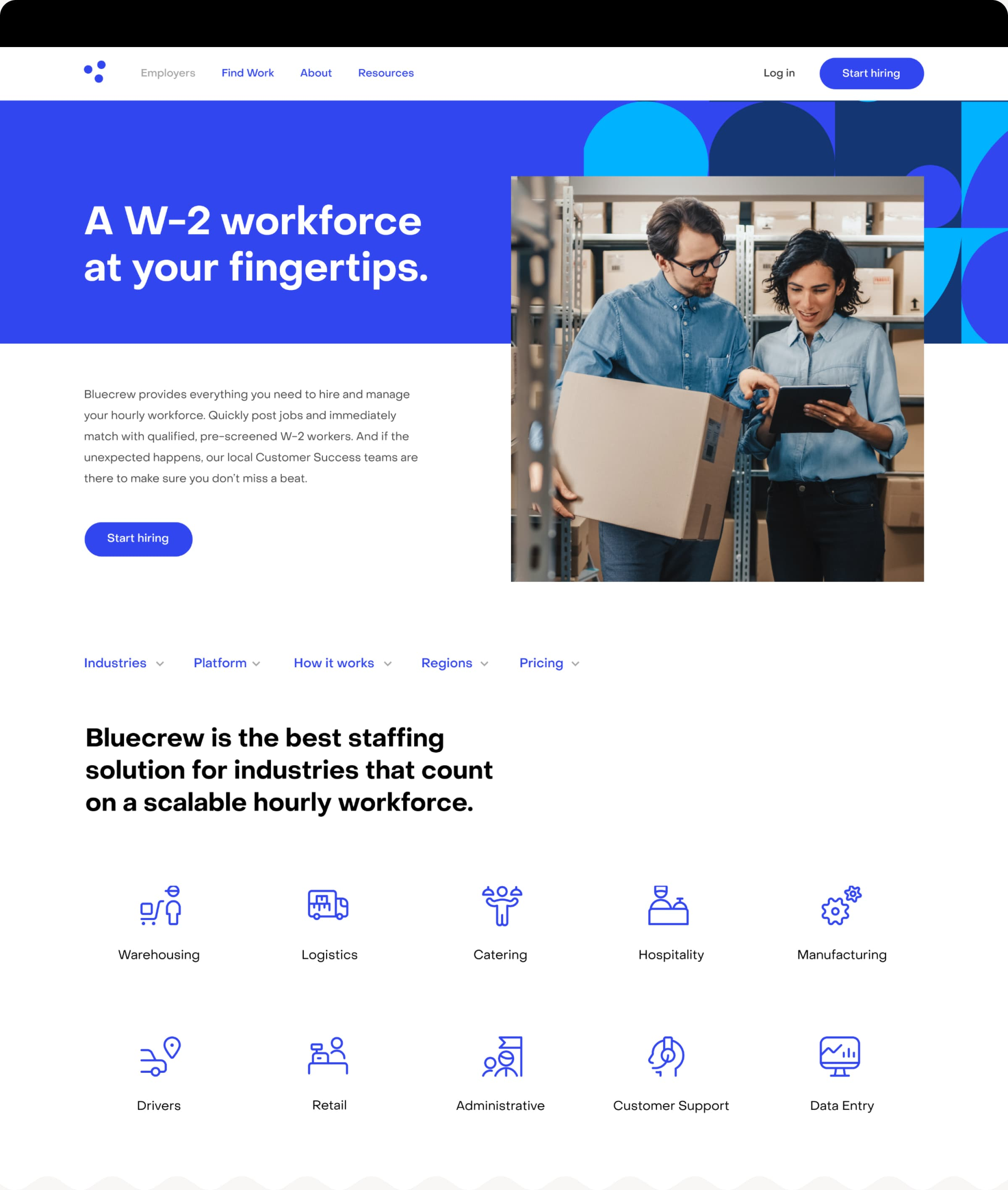 An image of the Product landing page from Bluecrew's website, featuring a hero photograph of two warehouse workers collaborating, and 10 icons showing the range of industries that Bluecrew services.