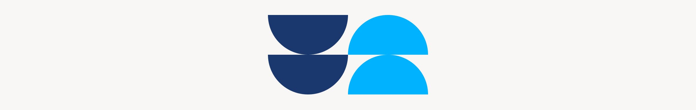A brand design element, showing a graphic of four, blue-filled, half circles stacked on each other.