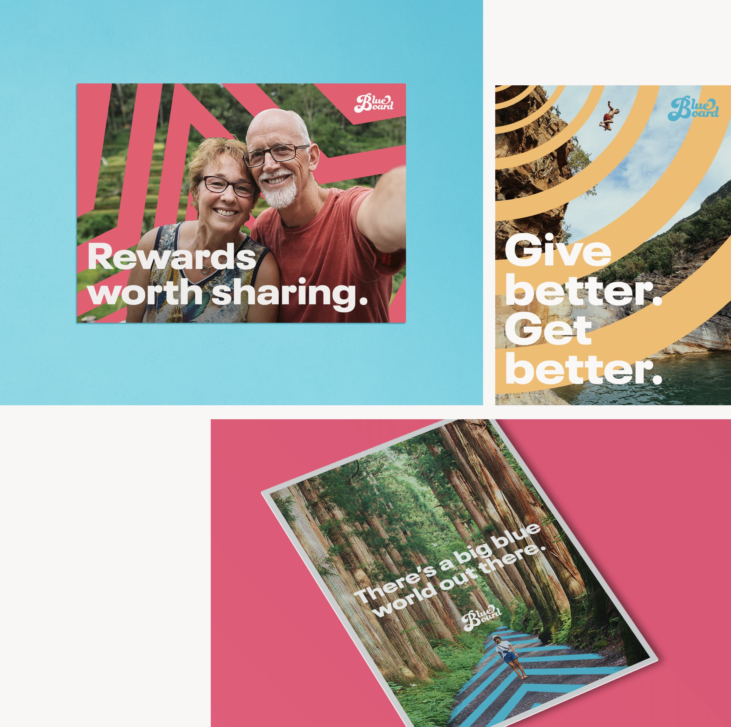 A series of three images showing Blueboard's new brand design, including: An elderly couple on vacation taking a selfie, a man cliff jumping, and a woman exploring a redwood forest.