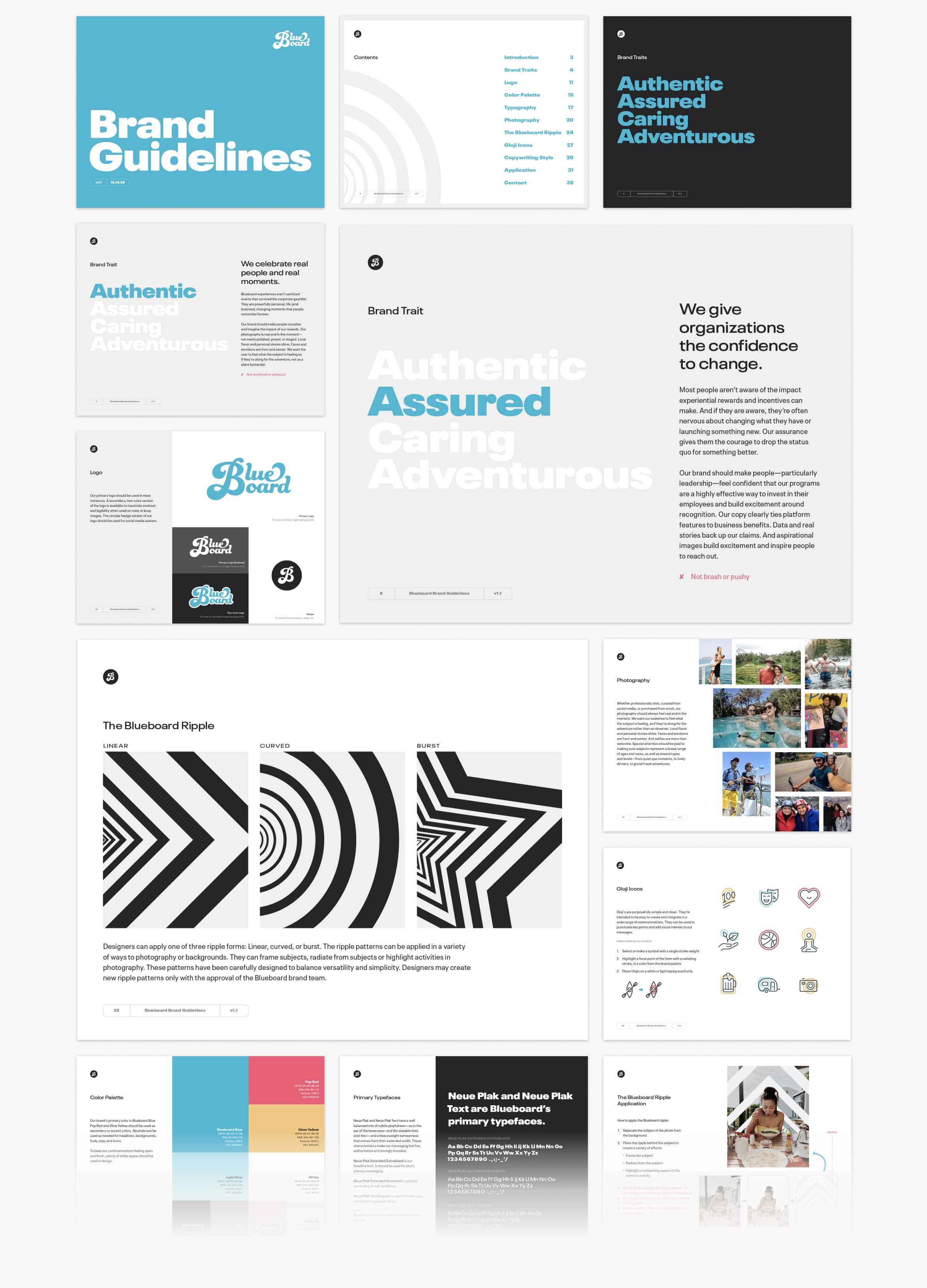 A series of 12 thumbnail images showing key pages from Blueboard's brand style guide.