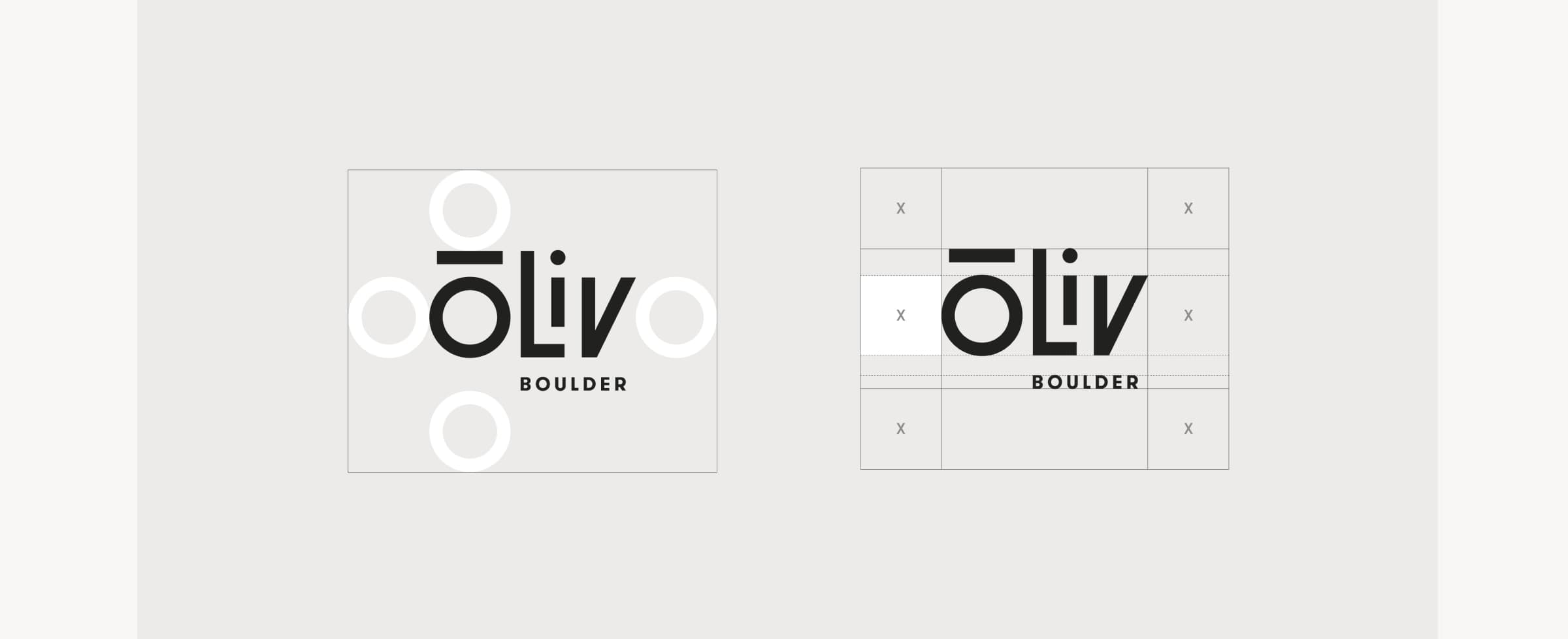 An image of the ōLiv logo showing placement and sizing rules.
