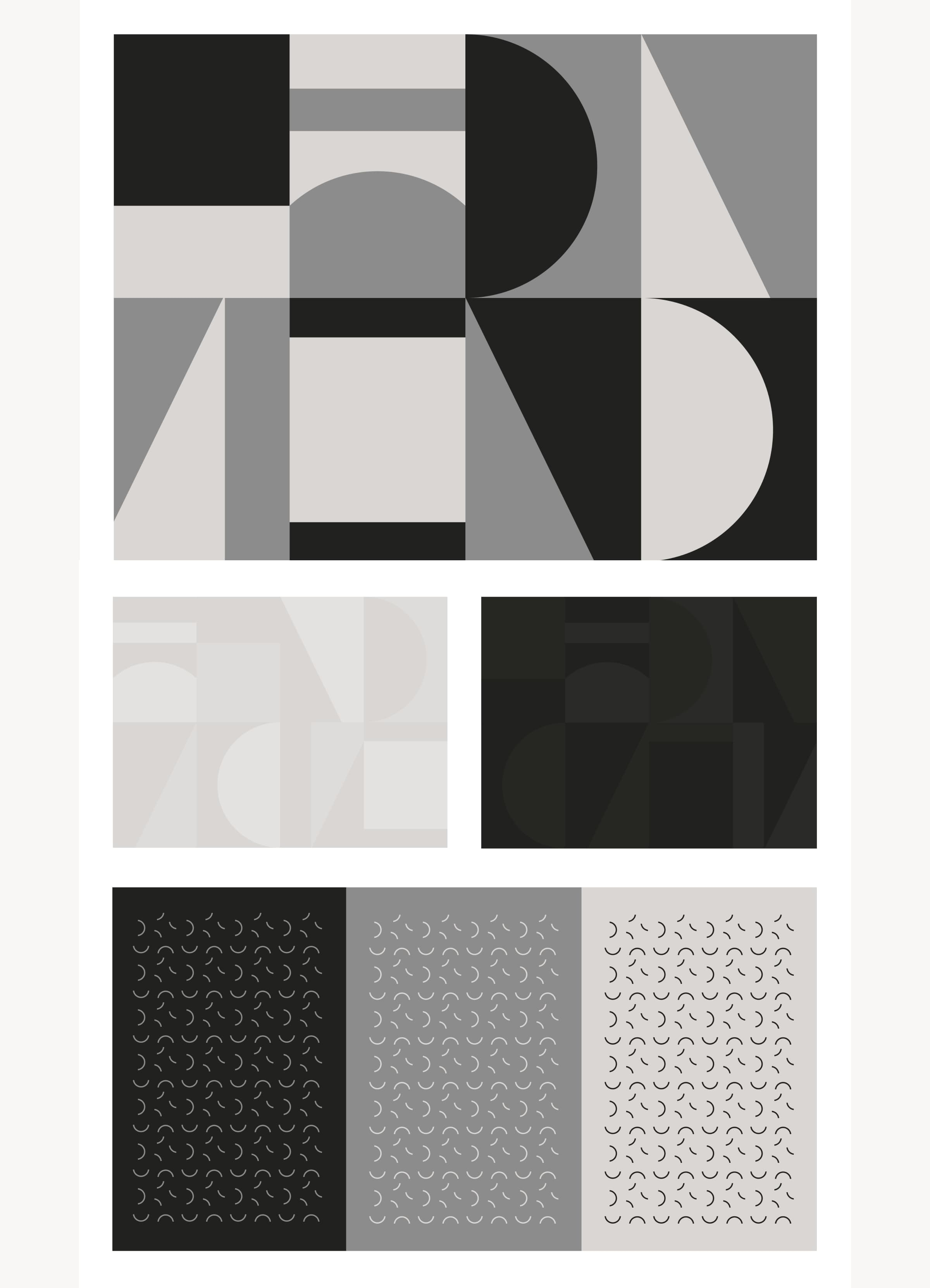 A variety of images showing ōLiv's brand patterns, from bold, macro shapes to textural, micro squiggles.