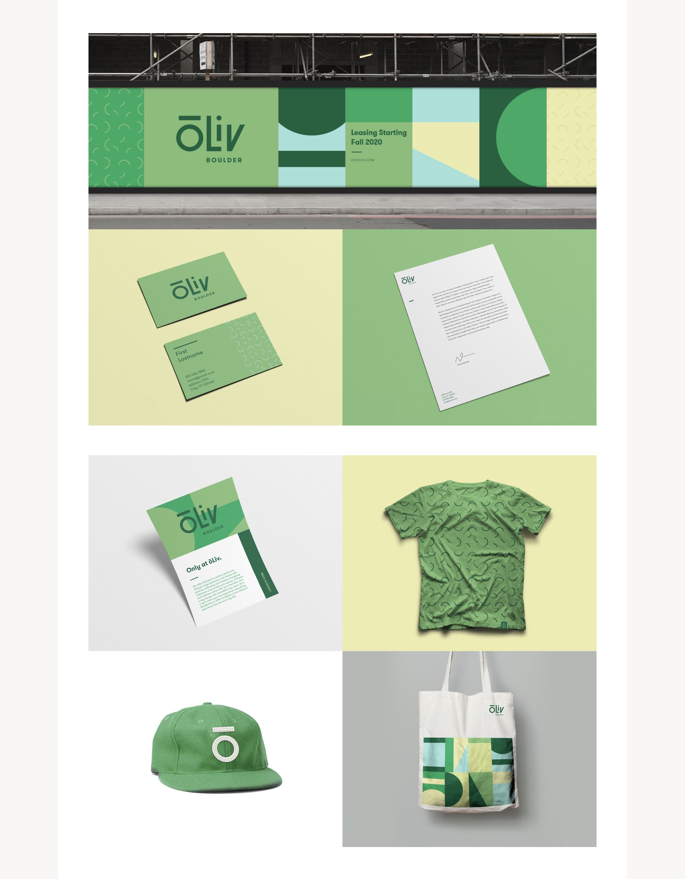 An image showing ōLiv marketing collateral for the Boulder, Colorado property, including: Building wrap signage, business card, letterhead, postcard, t-shirt, baseball hat, and tote bag.