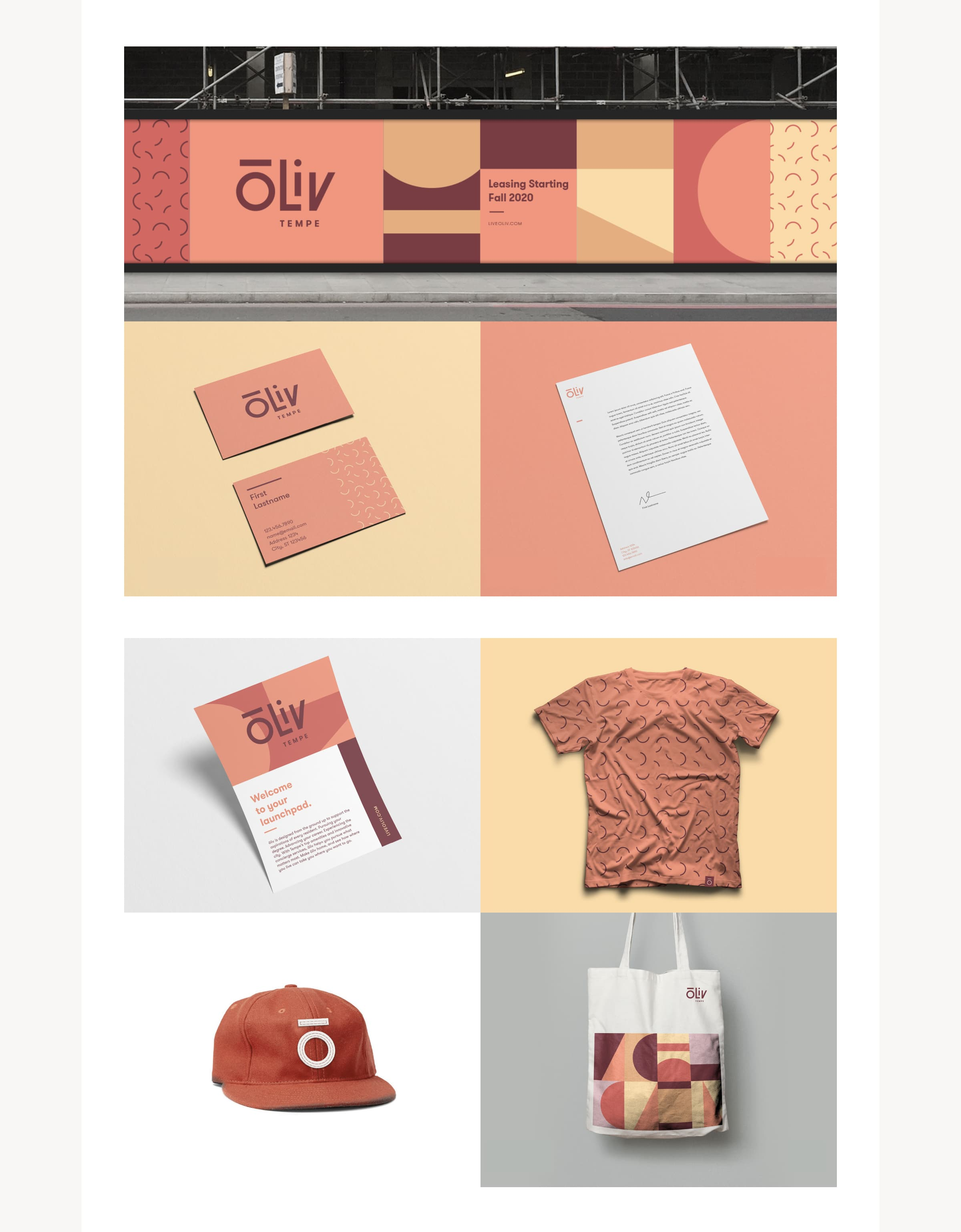An image showing ōLiv marketing collateral for the Tempe, Arizona property, including: Building wrap signage, business card, letterhead, postcard, t-shirt, baseball hat, and tote bag.