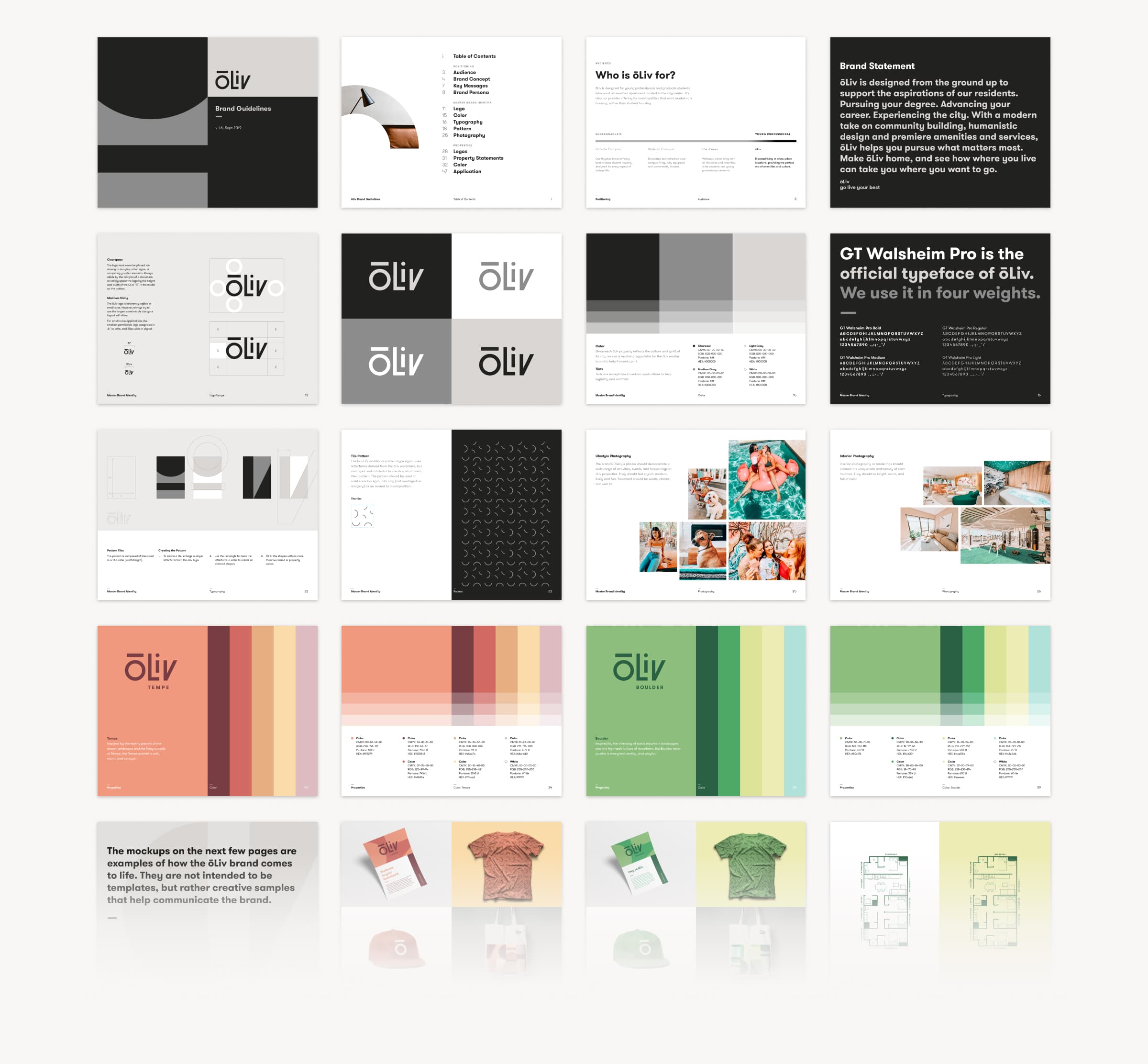 A series of 20 thumbnail images showing key pages from the ōLiv brand style guide.