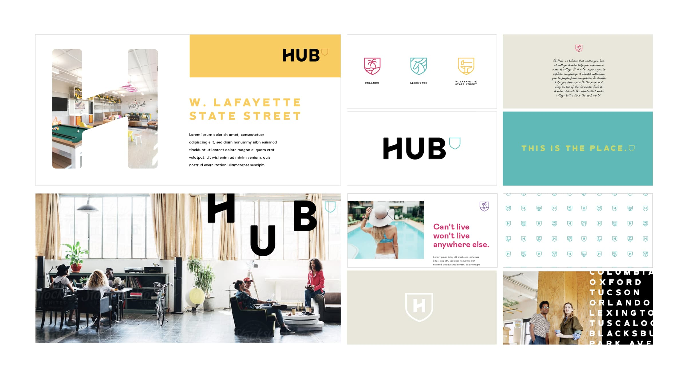 A moodboard showing a variety of brand design moments, including typography, lifestyle photography, iconography, and color palette.