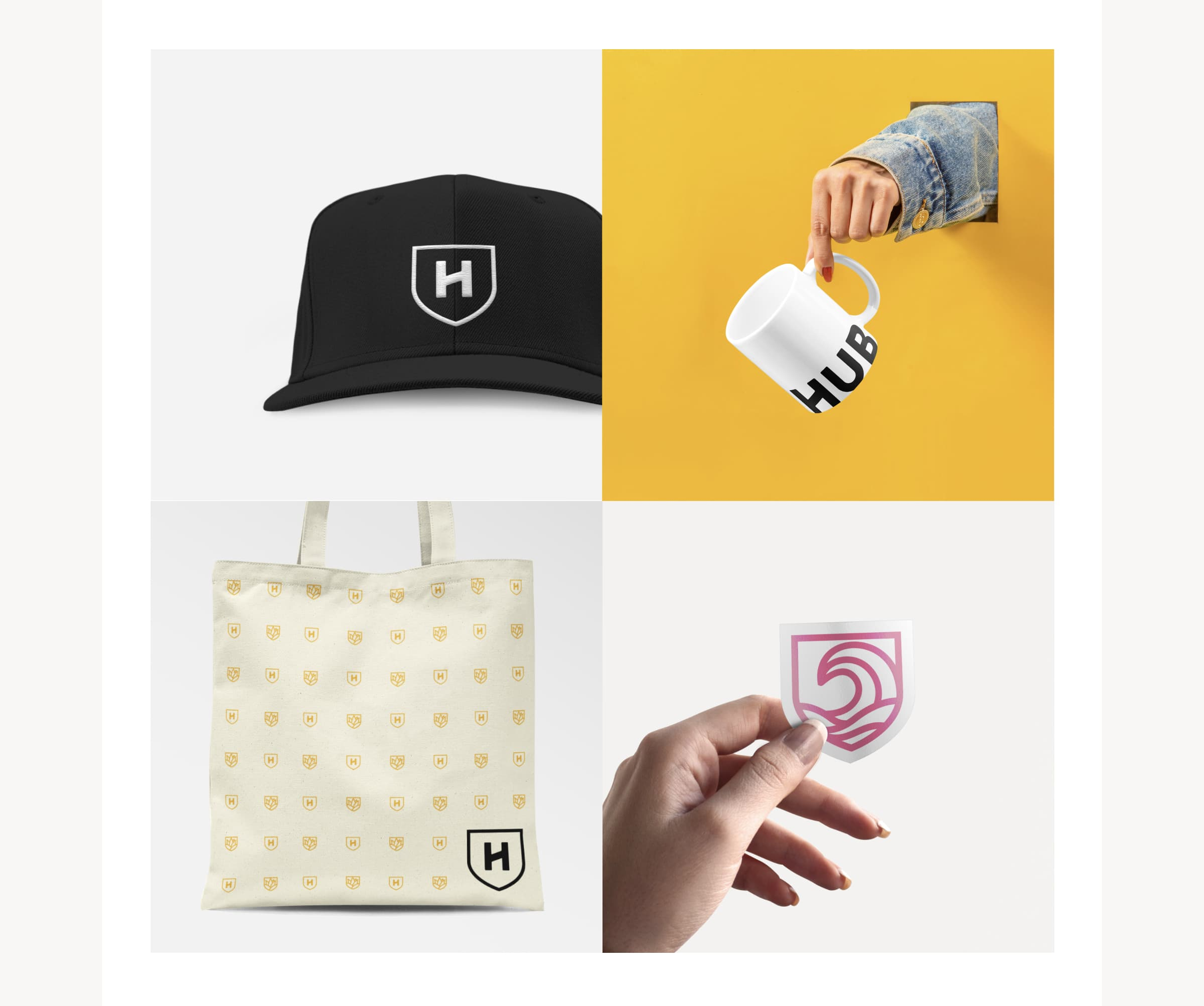 Four images of new Hub swag and merchandise, including a baseball hat, a coffee mug, a tote bag, and a sticker.