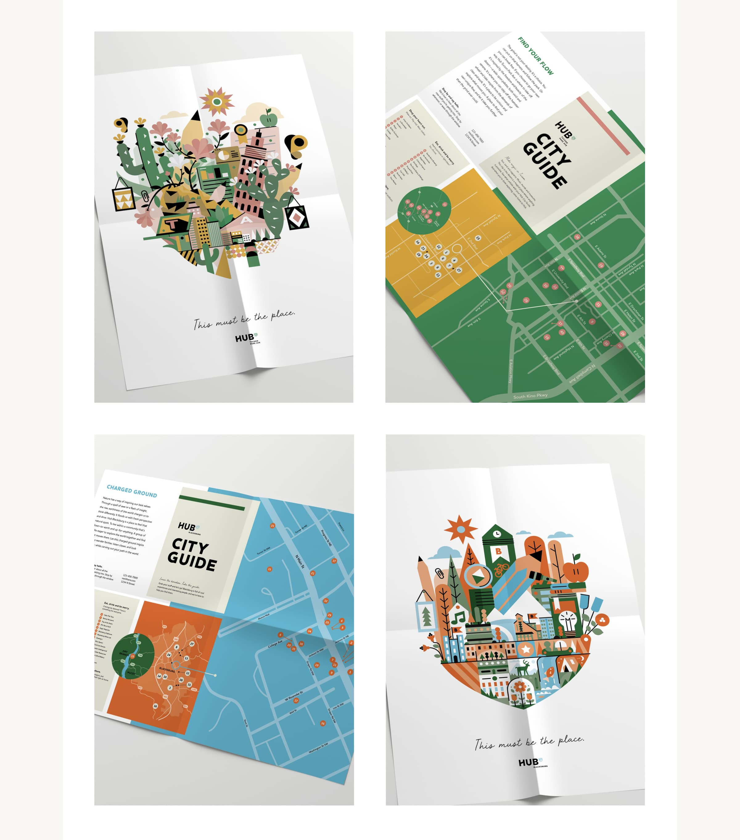 An image of Hub marketing collateral, specifically a Hub city guide and map featuring an exuberant illustration of Tucson, Arizona.