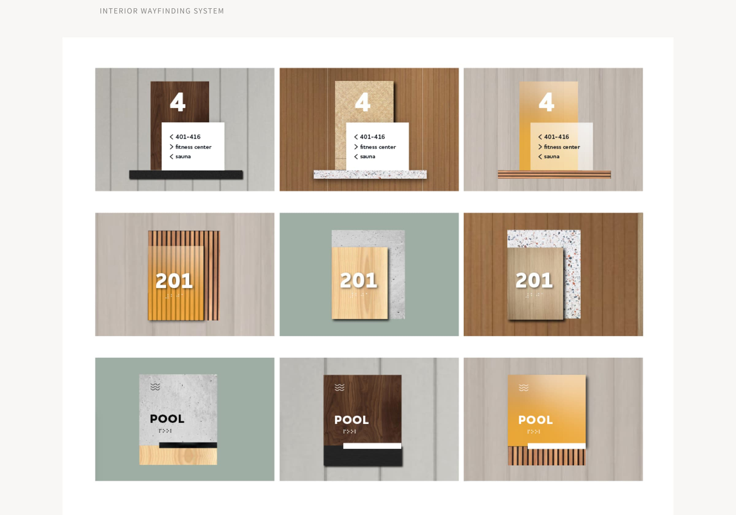 Images of a variety of new Hub interior wayfinding signage, including apartment room numbers, directional signage, and amenity placards.