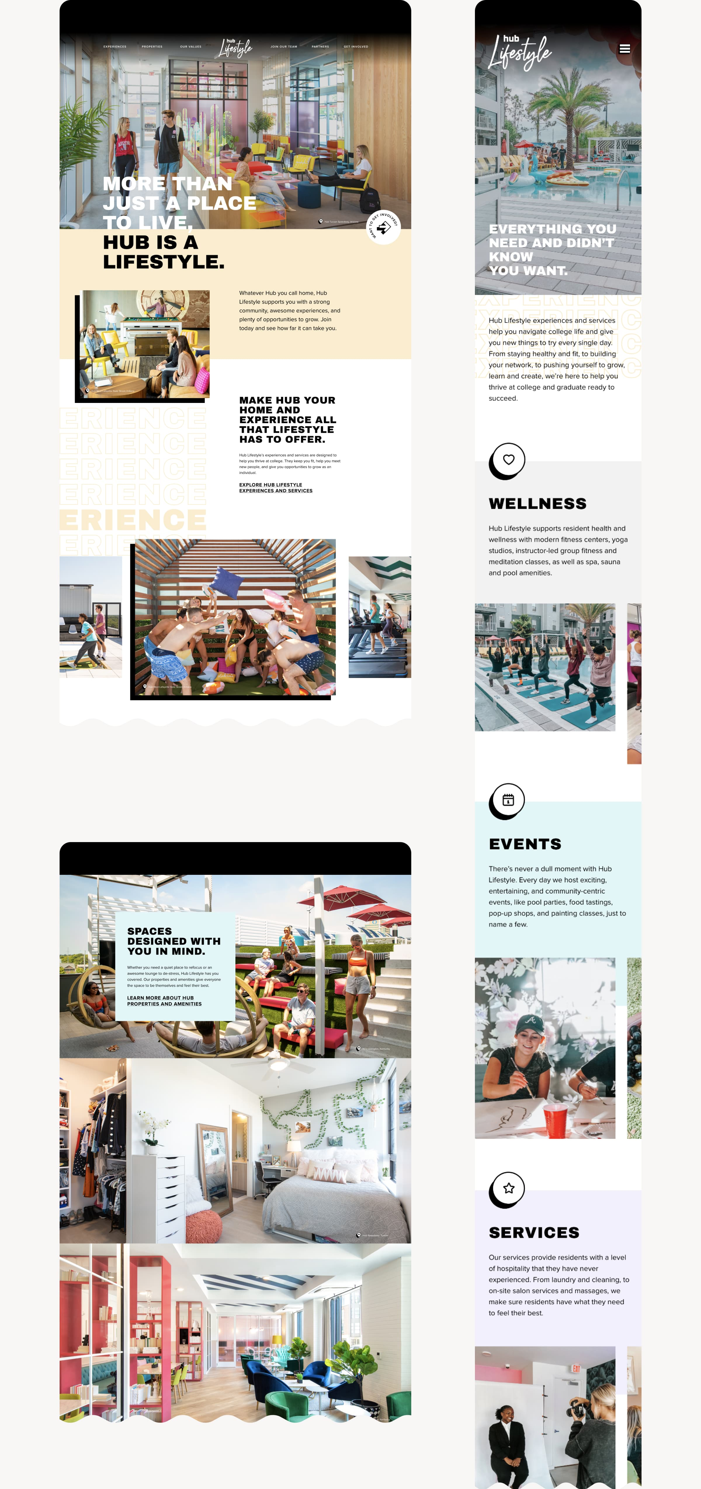 Fullscreen images of the new Hub Lifestyle website, including desktop and mobile designs.