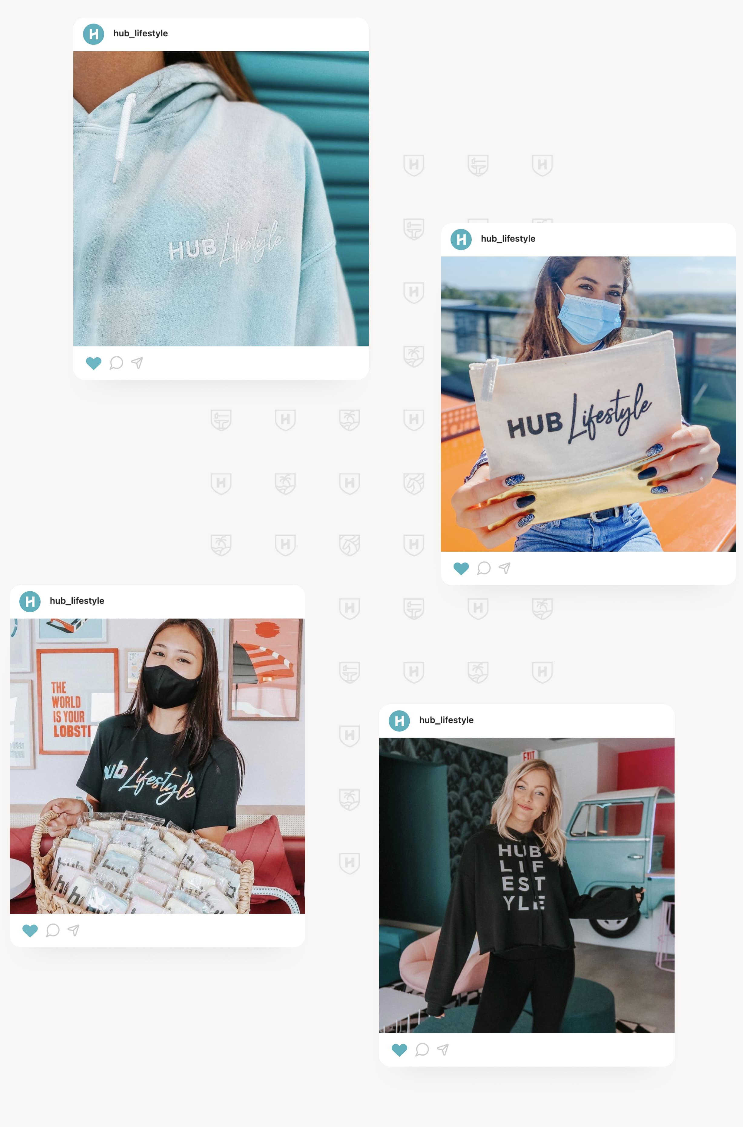 Four images of Instagram stories designed with the new Hub Lifestyle branding.