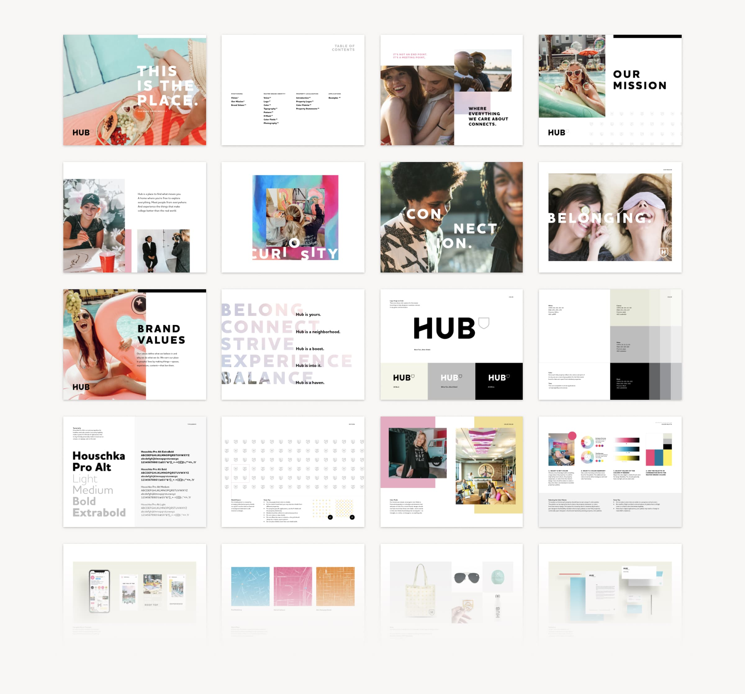 A series of 20 thumbnail images showing key pages from the Hub brand style guide.