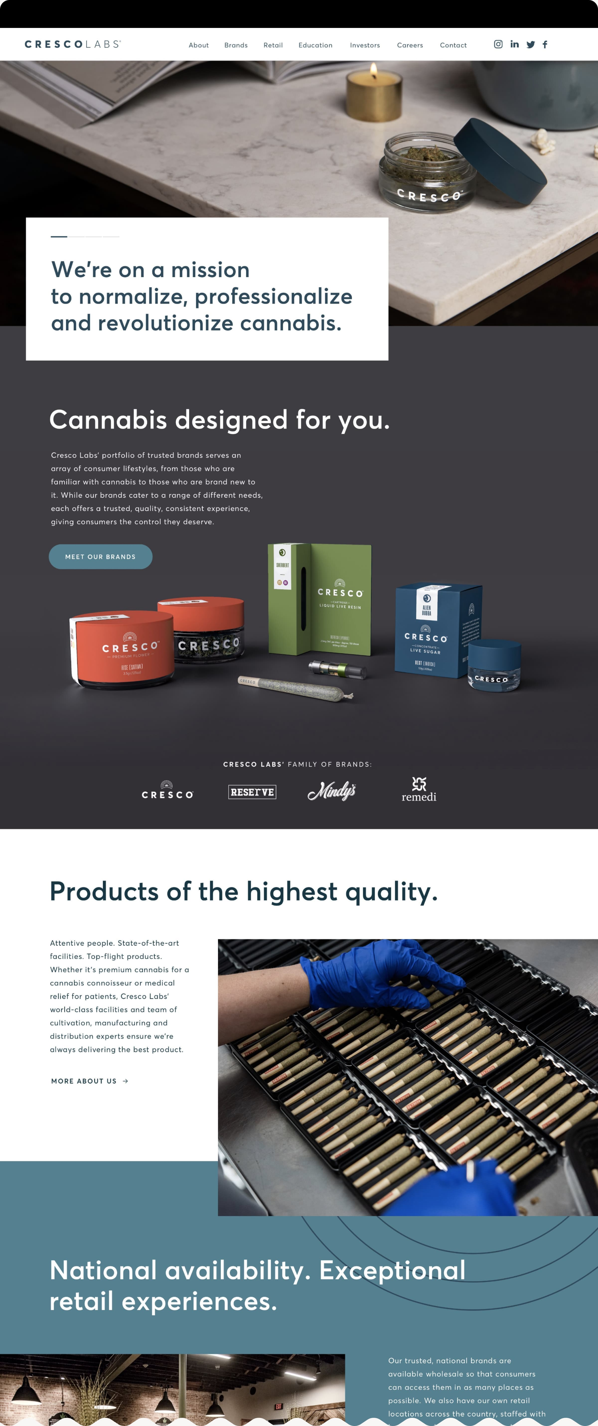 An image of Cresco Labs' home page featuring a variety of consumer cannabis products, including premium flower, pre-rolls, concentrates, and vapes.