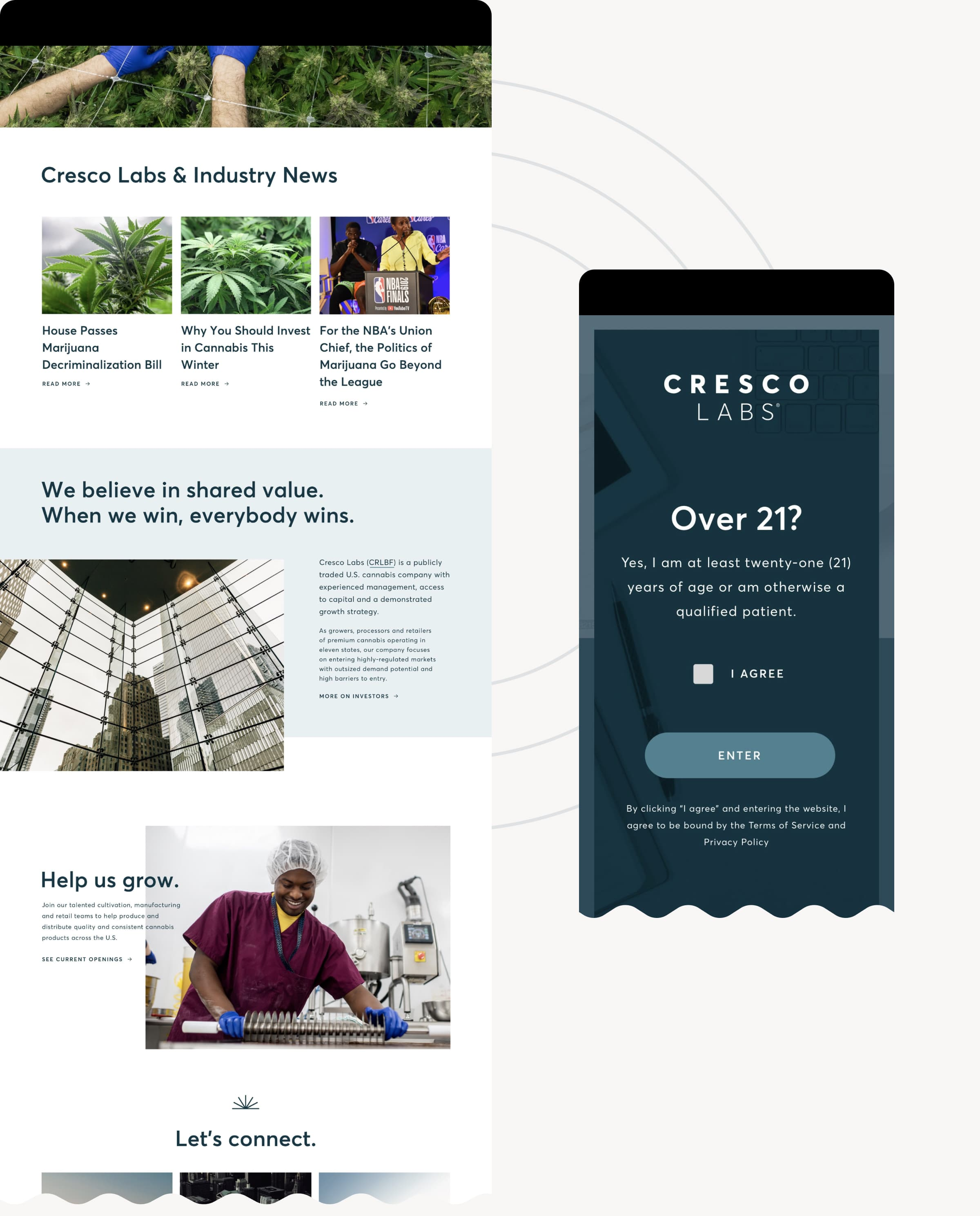 An image of Cresco Labs' home page, featuring the Press, Investors, and Careers sections of the website.