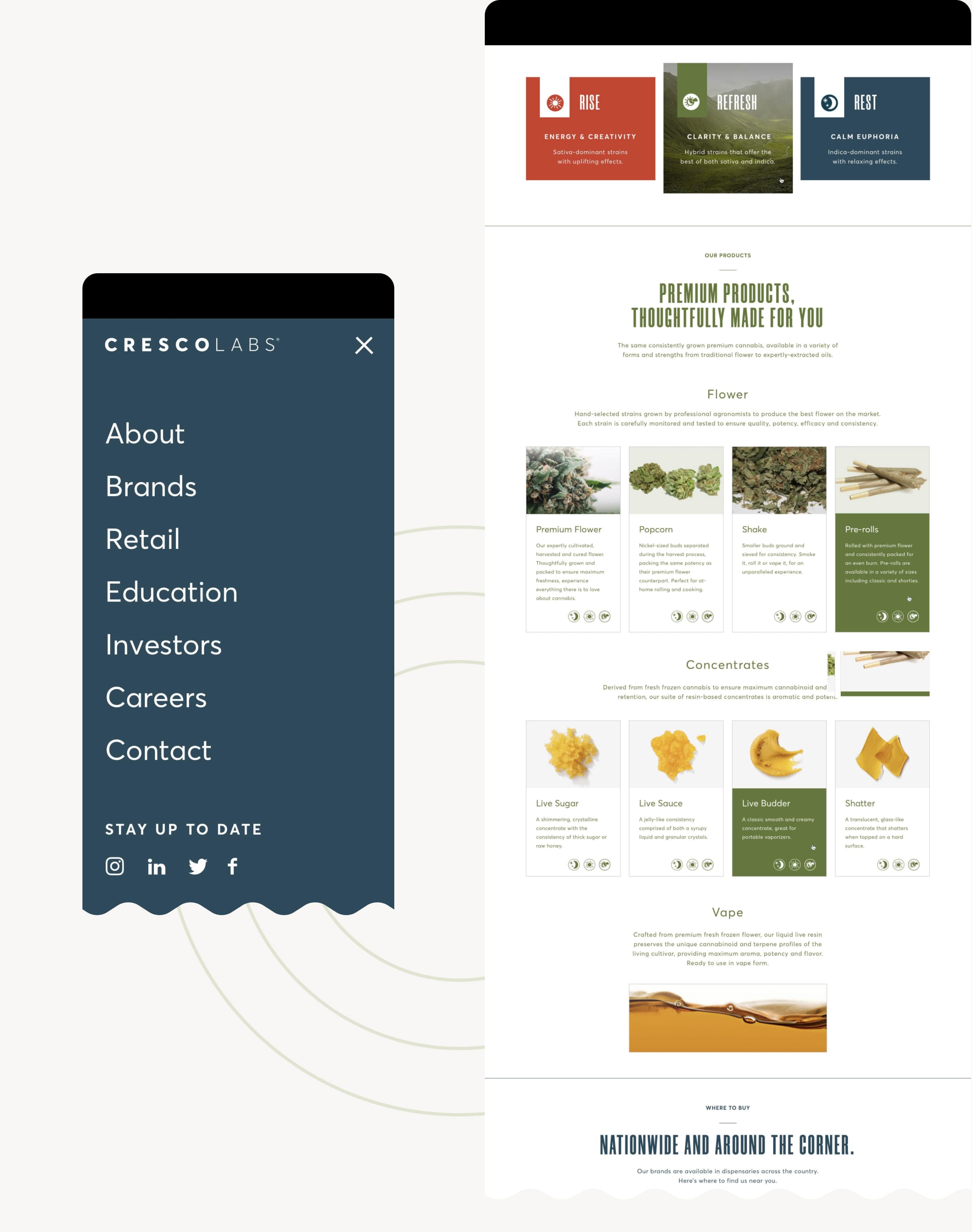 An image of the Cresco consumer cannabis brand website, including an image of the mobile website design.