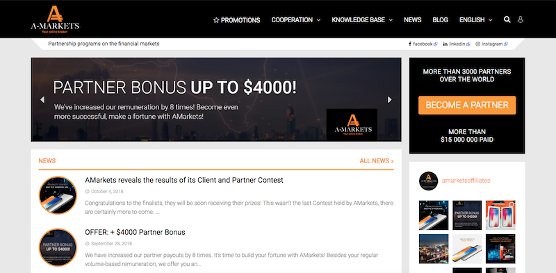 AMarkets Affiliate Program Partner Bonus