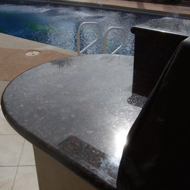 Granite countertop before being restored