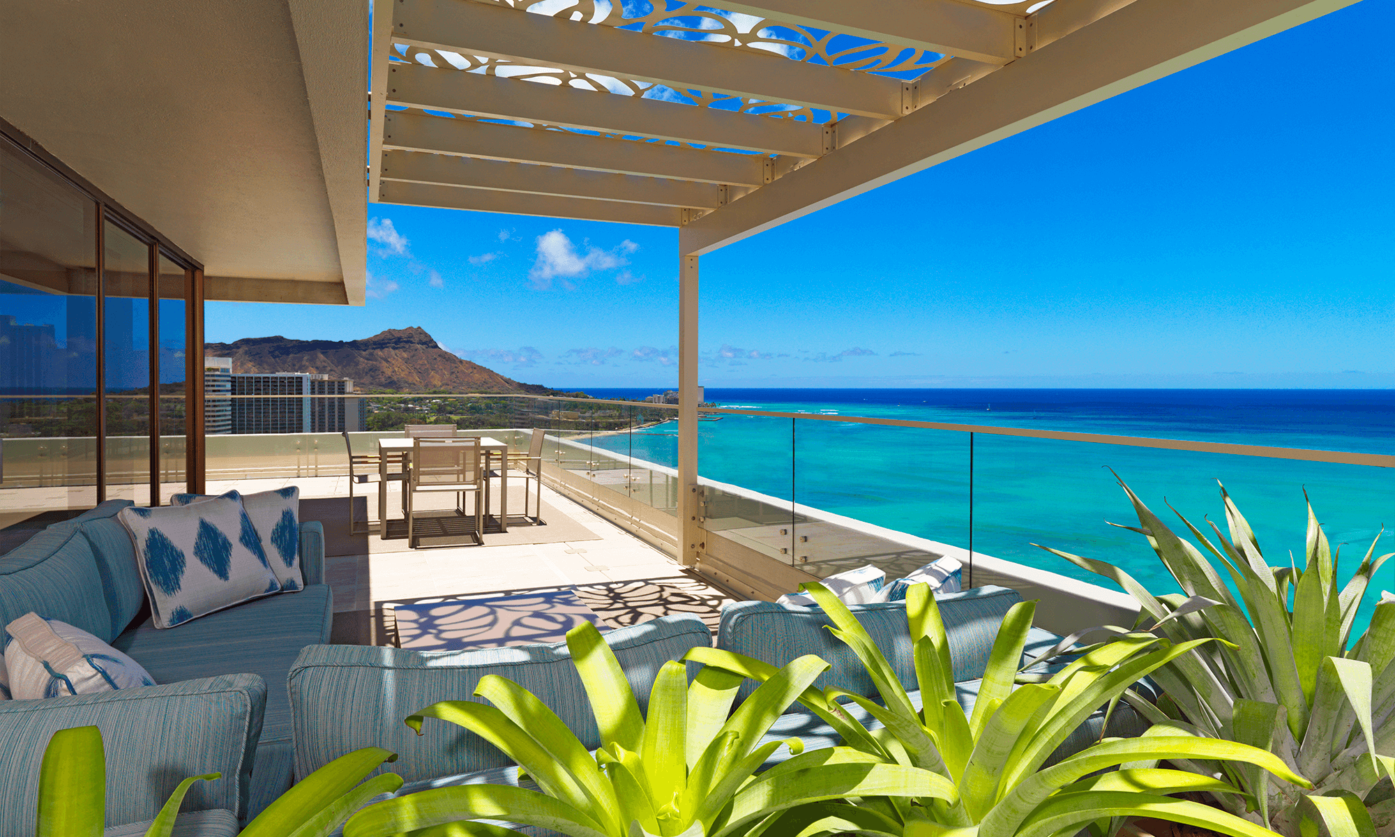 Moana Surfrider penthouse balcony and Penthouse Architecture, Interior Design, and layout