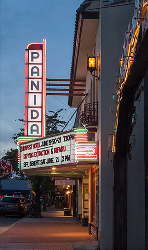 The Panida Theater Marquee at night.