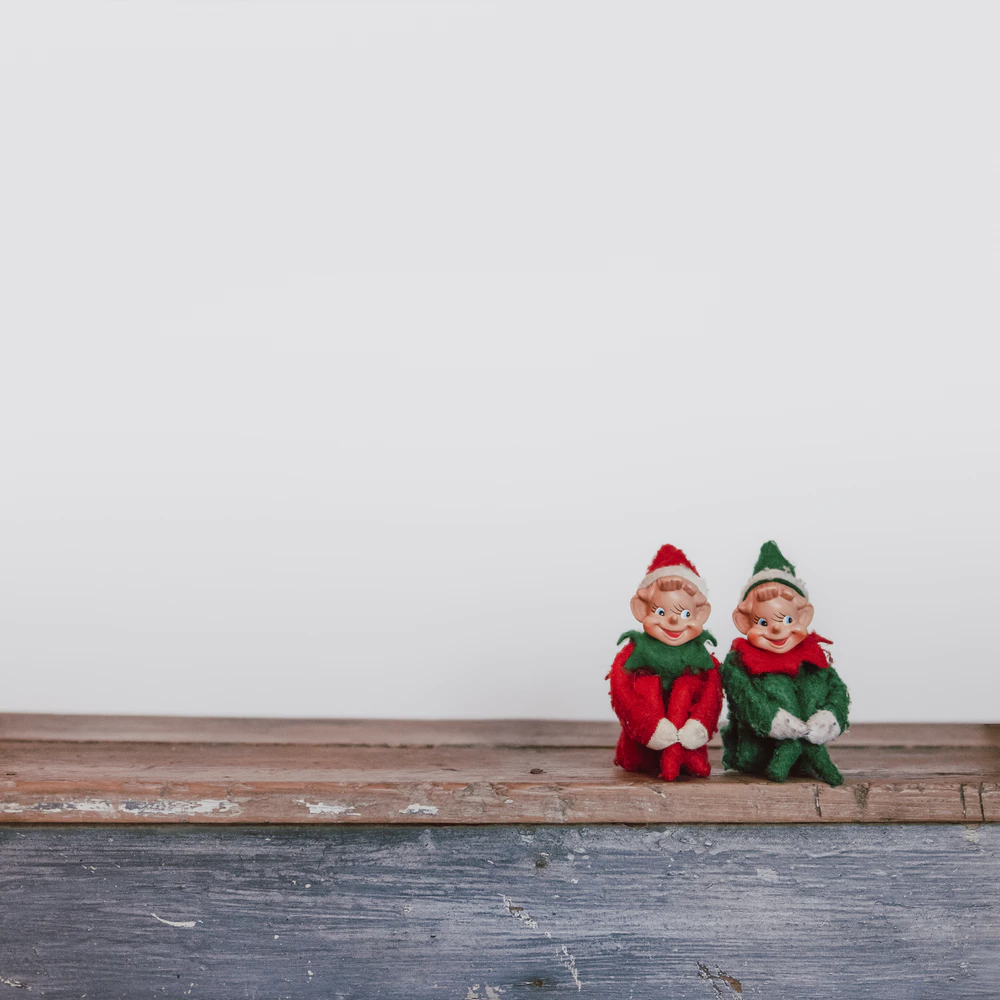 Two Christmas elf toys looking cheeky
