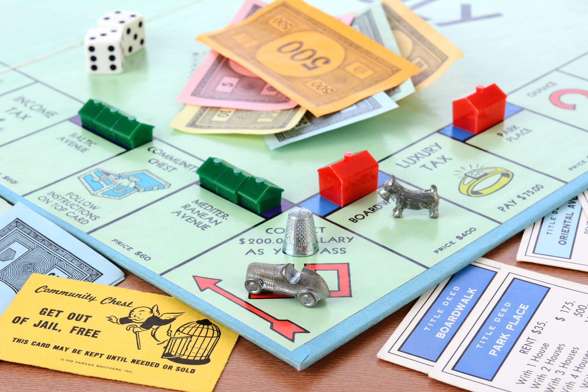 monopoly board during play
