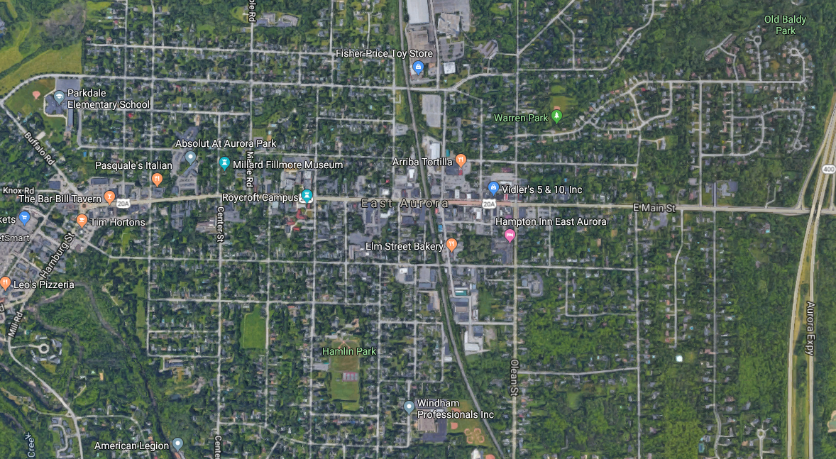 east aurora google maps satellite