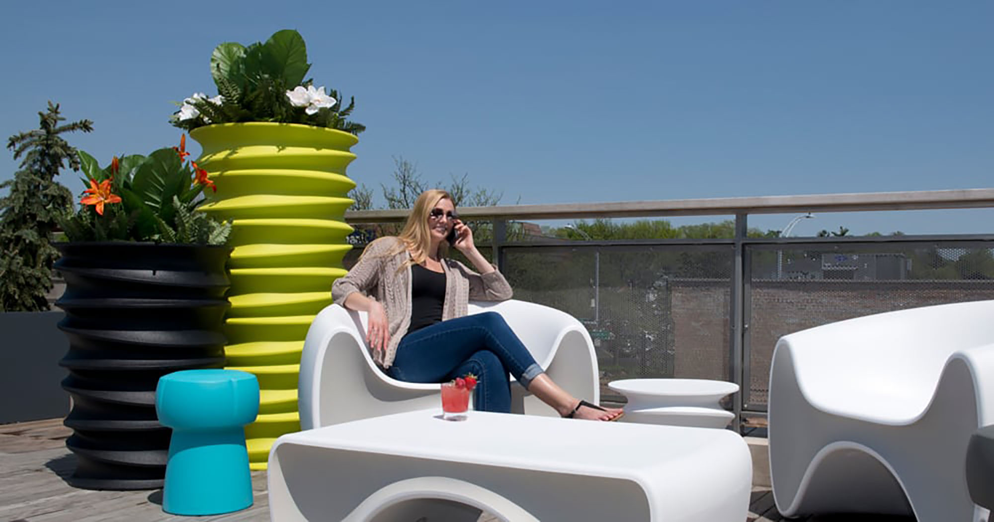 "If your office does have outside space, you need furniture that's weather-resistant and user friendly. It doesn't hurt that the furniture also comes in fun shapes and lots of cool colors! Tonik blends American-made ingenuity with a unique ""rotational molding"" manufacturing process to make its UV-resistant planters, benches and tables in 21 delectable colors."