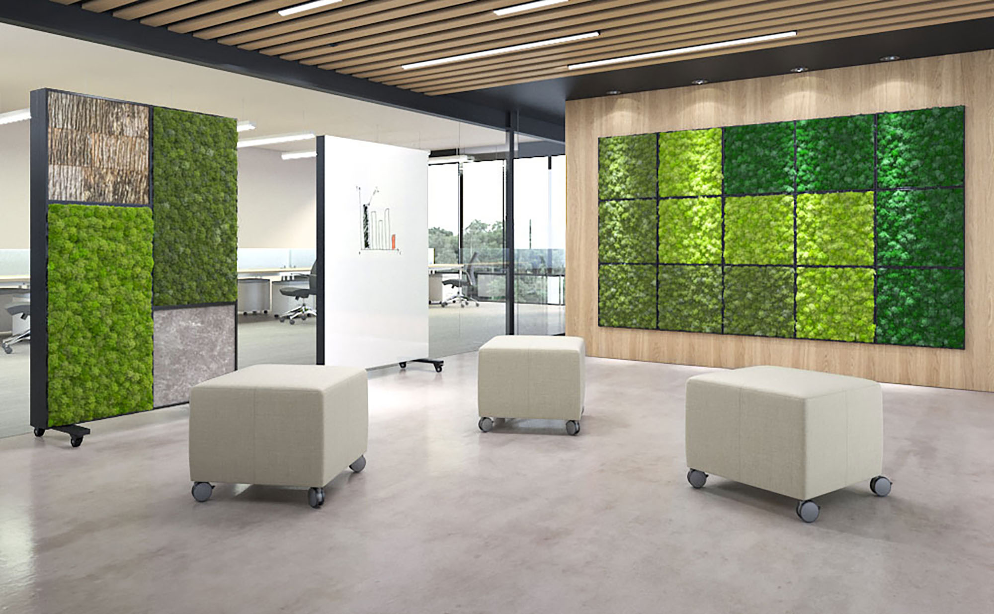 Let's say you don't have outdoor access. Or access is minimal. You can still bring the outside in with these incredible Bio-Canvas panels from Nevins. Made of preserved natural materials - acoustic moss, sustainable poplar bark and light stone - the panels hang in lightweight frames (there are freestanding room dividers too) making the design possibilities endless. Best of all, they're low maintenance, no water or sunlight needed!