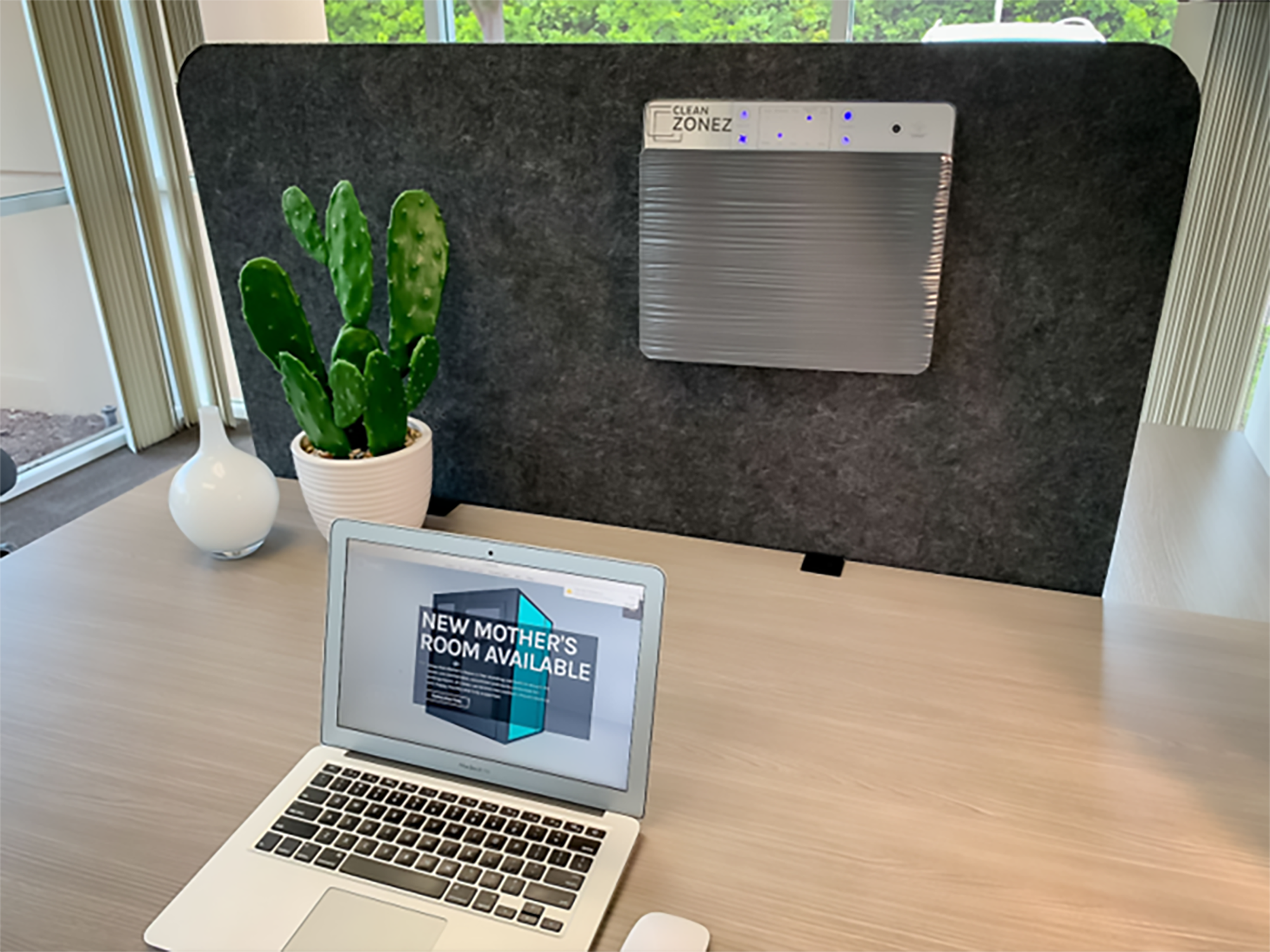 For general office air cleaning, the Clean Zonez panels (pictured) use six layers of air filtration which include an anti-microbial filter, a HEPA filer, and UVC sterilization. These panels can be attached to any workstation panel or desktop divider, including acrylic.