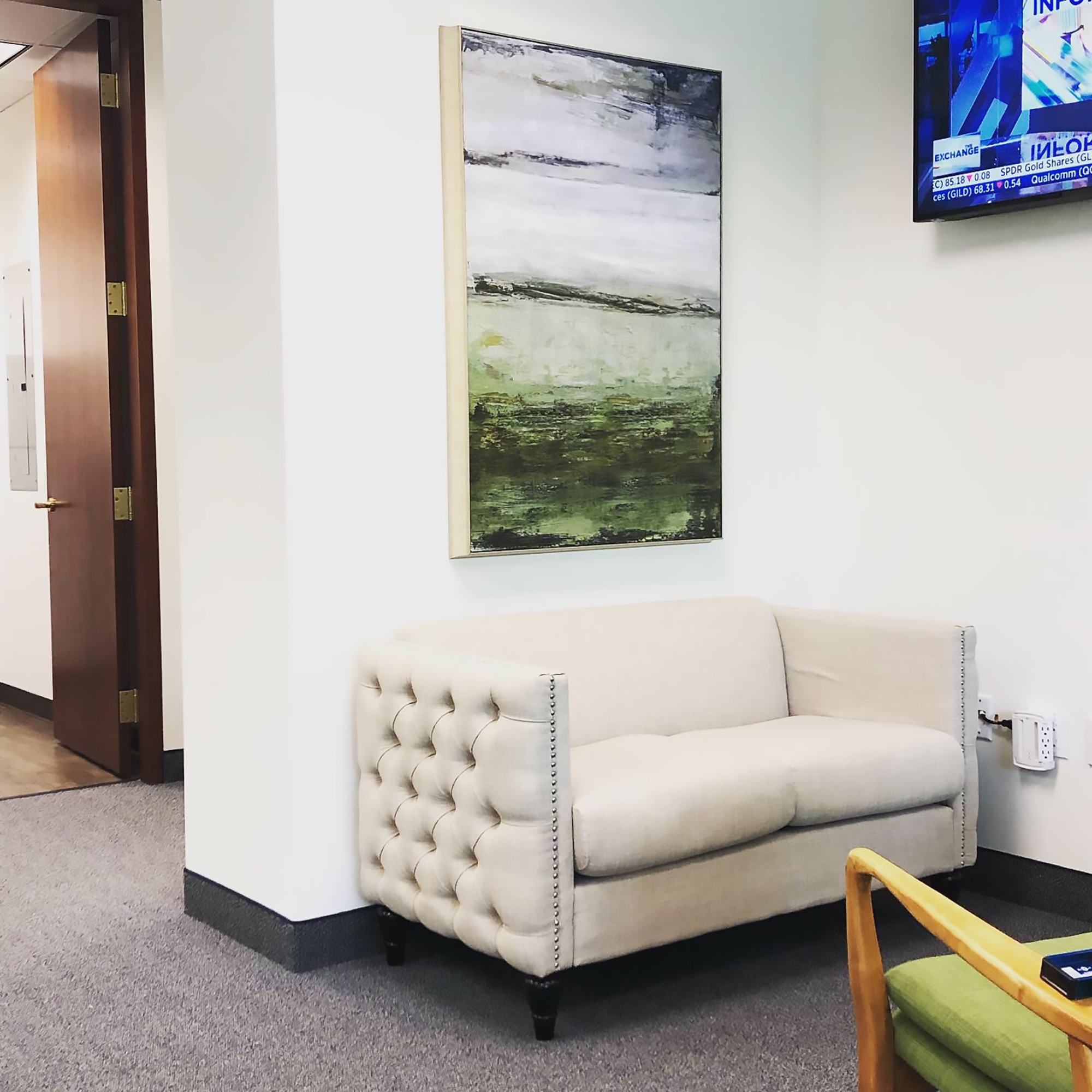 Artwork comes in many forms and for all budgets so let's take a look at some great, affordable selections such as the piece shown below that we hung in our client's reception area.