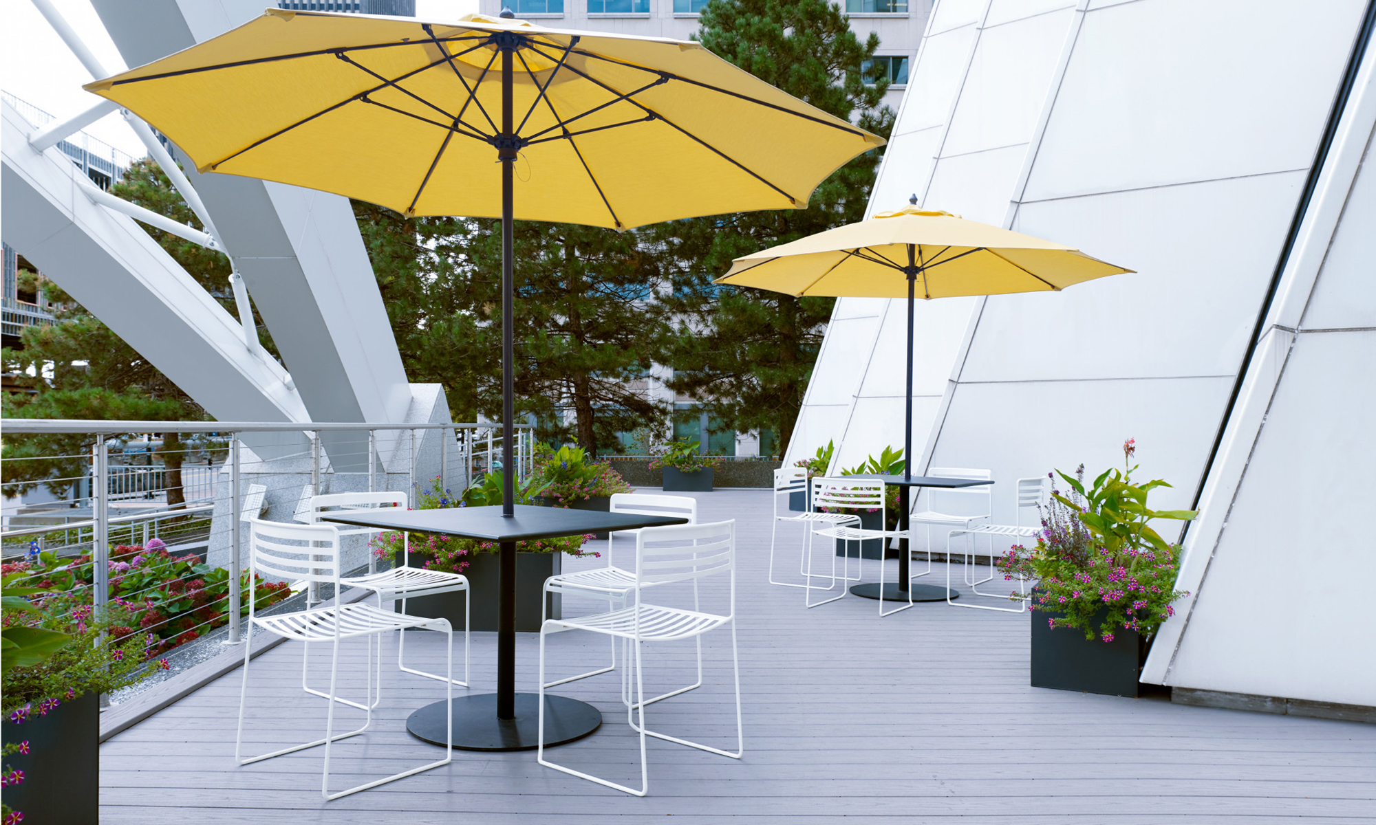 The newest weather-resistant materials and pops of color make selecting outdoor work and break time furniture a breeze!