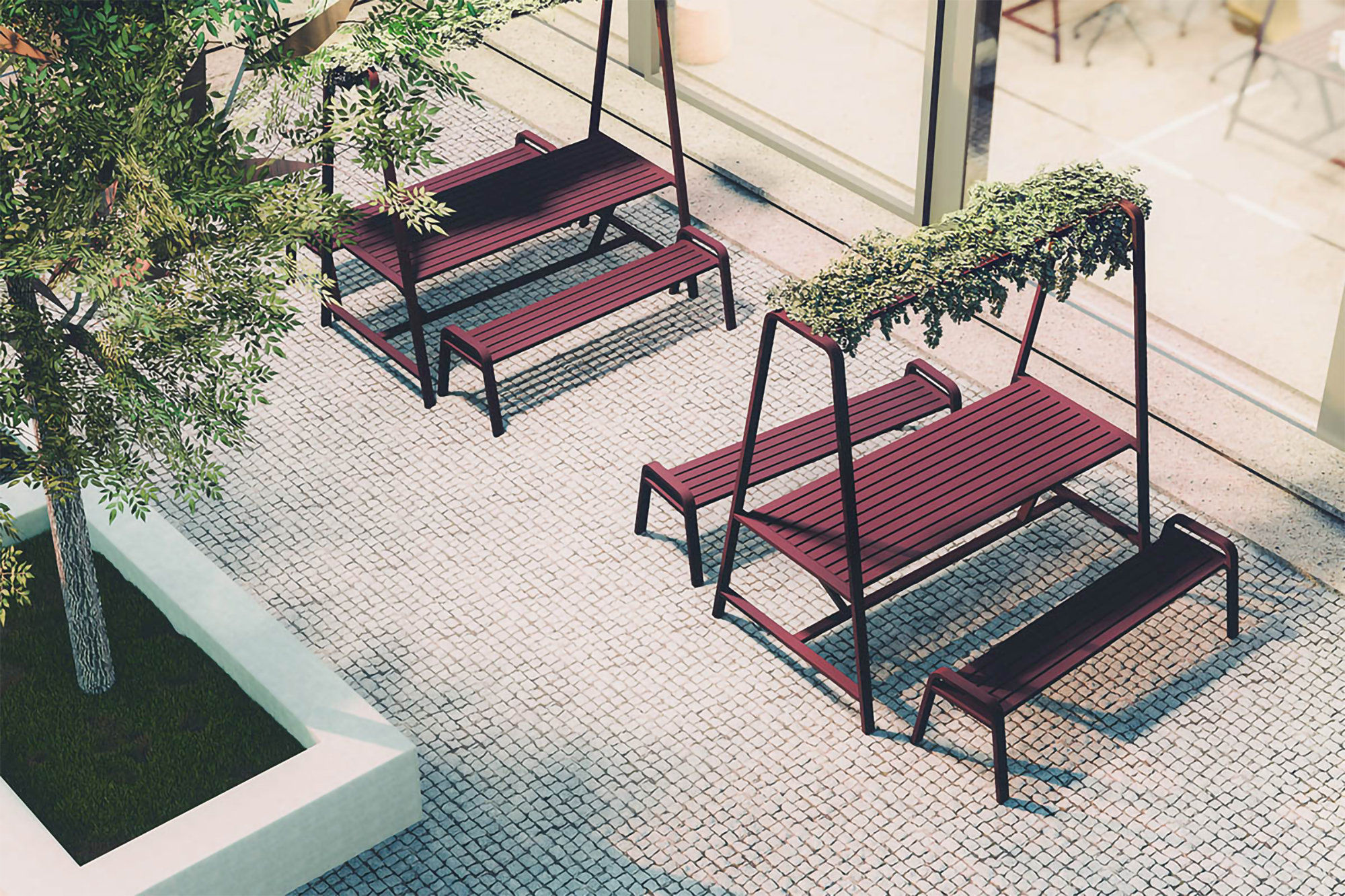 Like all products shown here, the Osti Cloud by Frovi can be used outdoors or indoors for a truly biophilic work environment.
