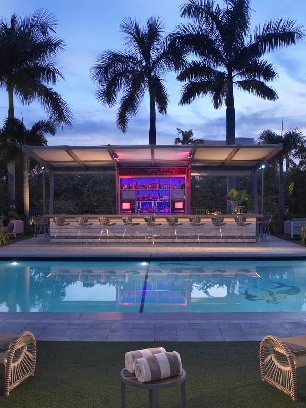 The groovy cabana bar at the Vagabond Hotel in Miami.
