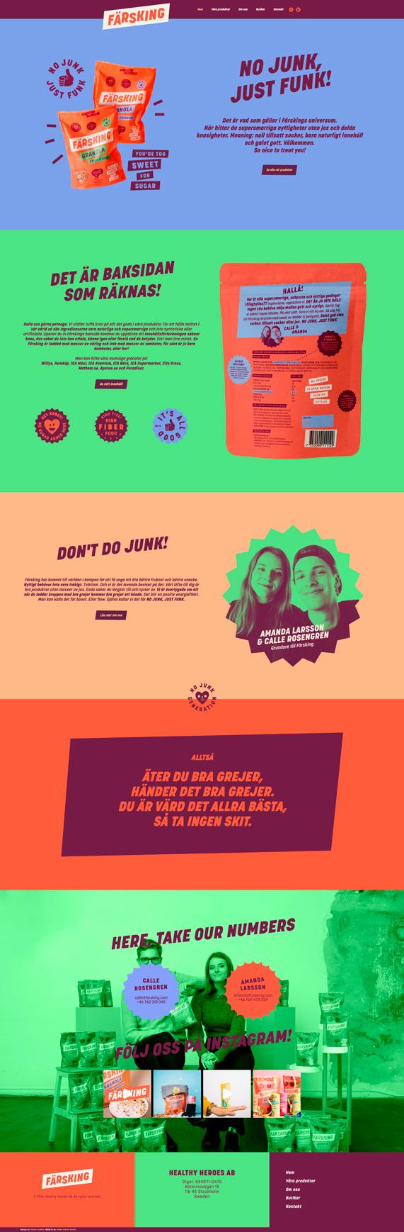 Färsking webbdesign och hemsida - Screen shot på första sidan