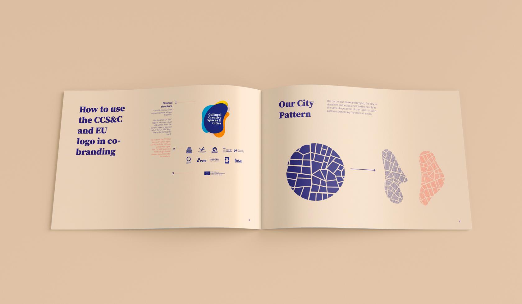 Cultural Creative Spaces & Cities grafiska profil och manual - Co-branding och stads-mönster