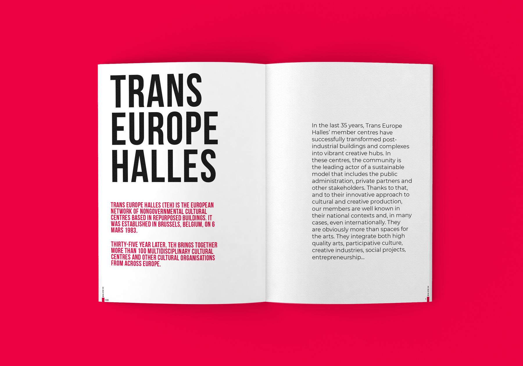 Uppslag från Trans Europe Halles varumärkes profil och manual - Typografi