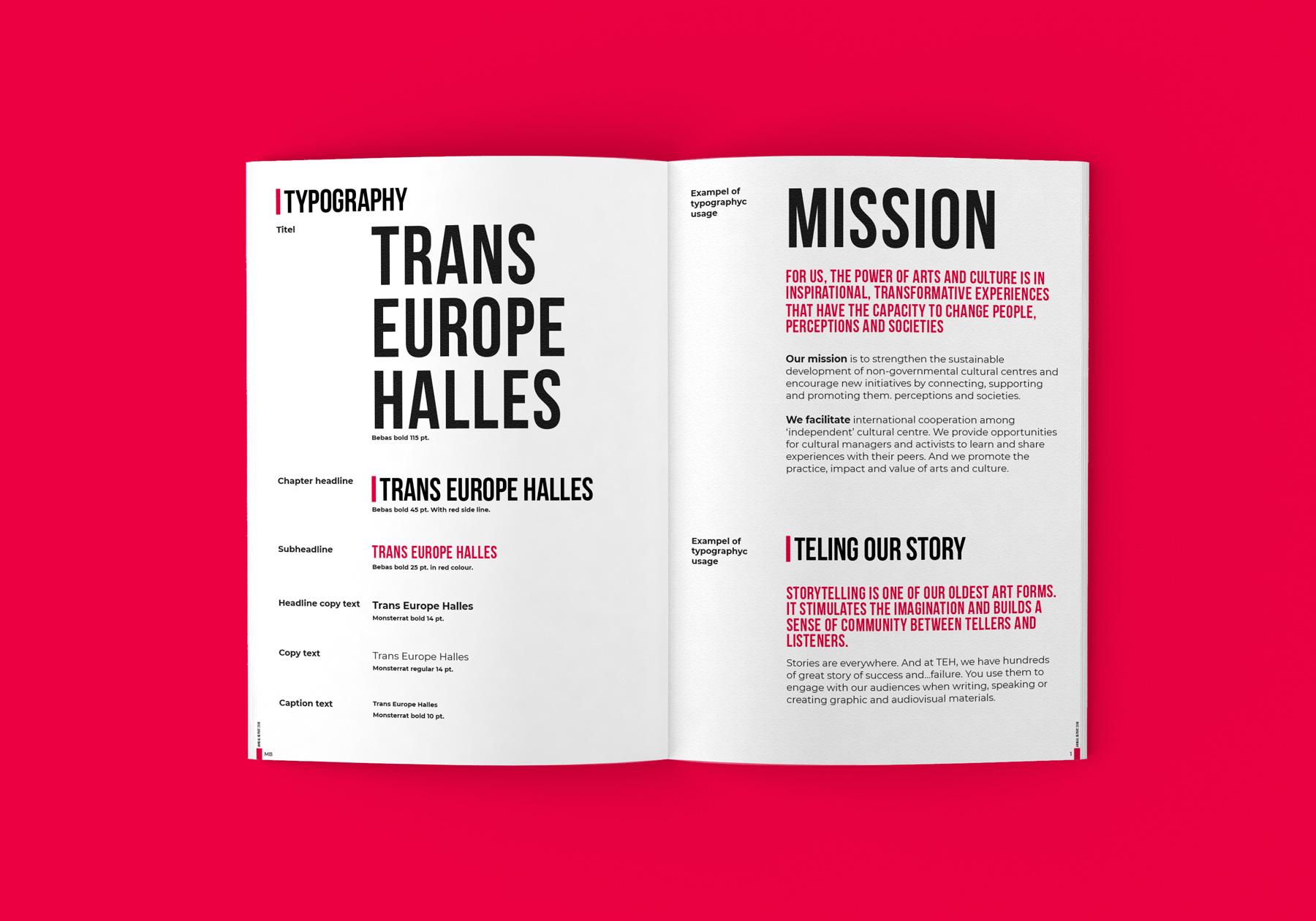 Uppslag från Trans Europe Halles varumärkes profil och manual - Användning av typografi