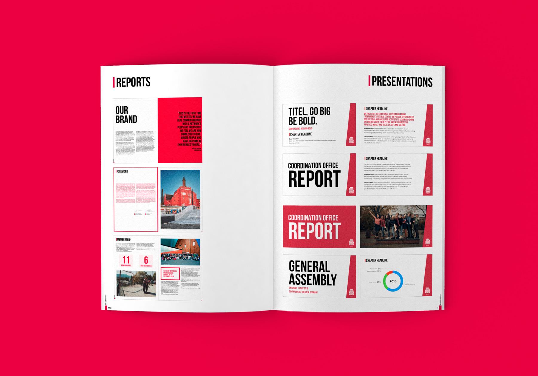Uppslag från Trans Europe Halles varumärkes profil och manual - Rapporter och presentationer