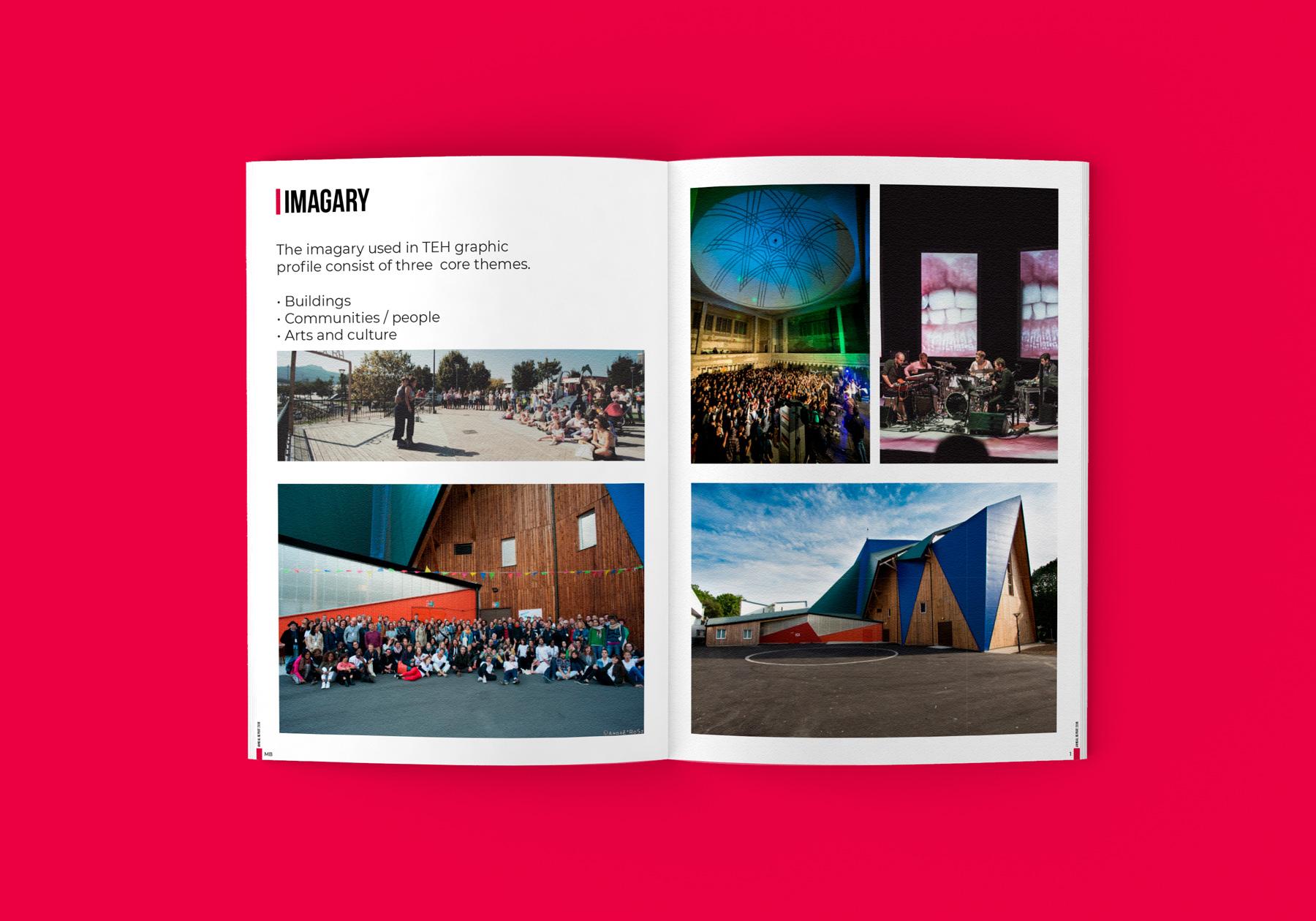 Uppslag från Trans Europe Halles varumärkes profil och manual - Bildmanér