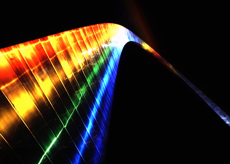 Gateway Arch Lit With Rainbow Colors