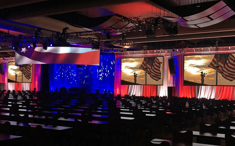 Corporate Meeting 40' Curved Screen with Blended Projection